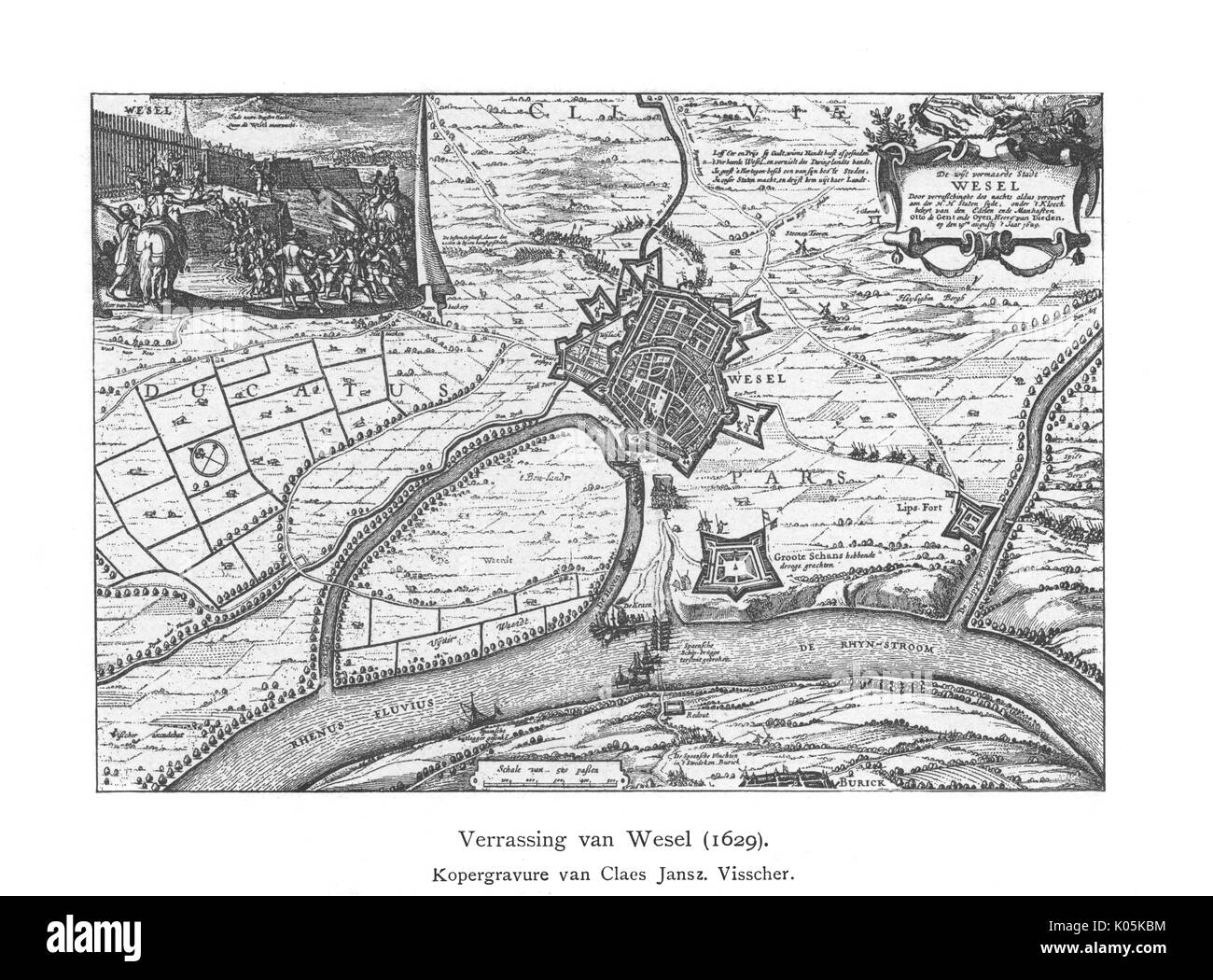Plan of surprise attack on  Wesel         Date: 1629 - Stock Image