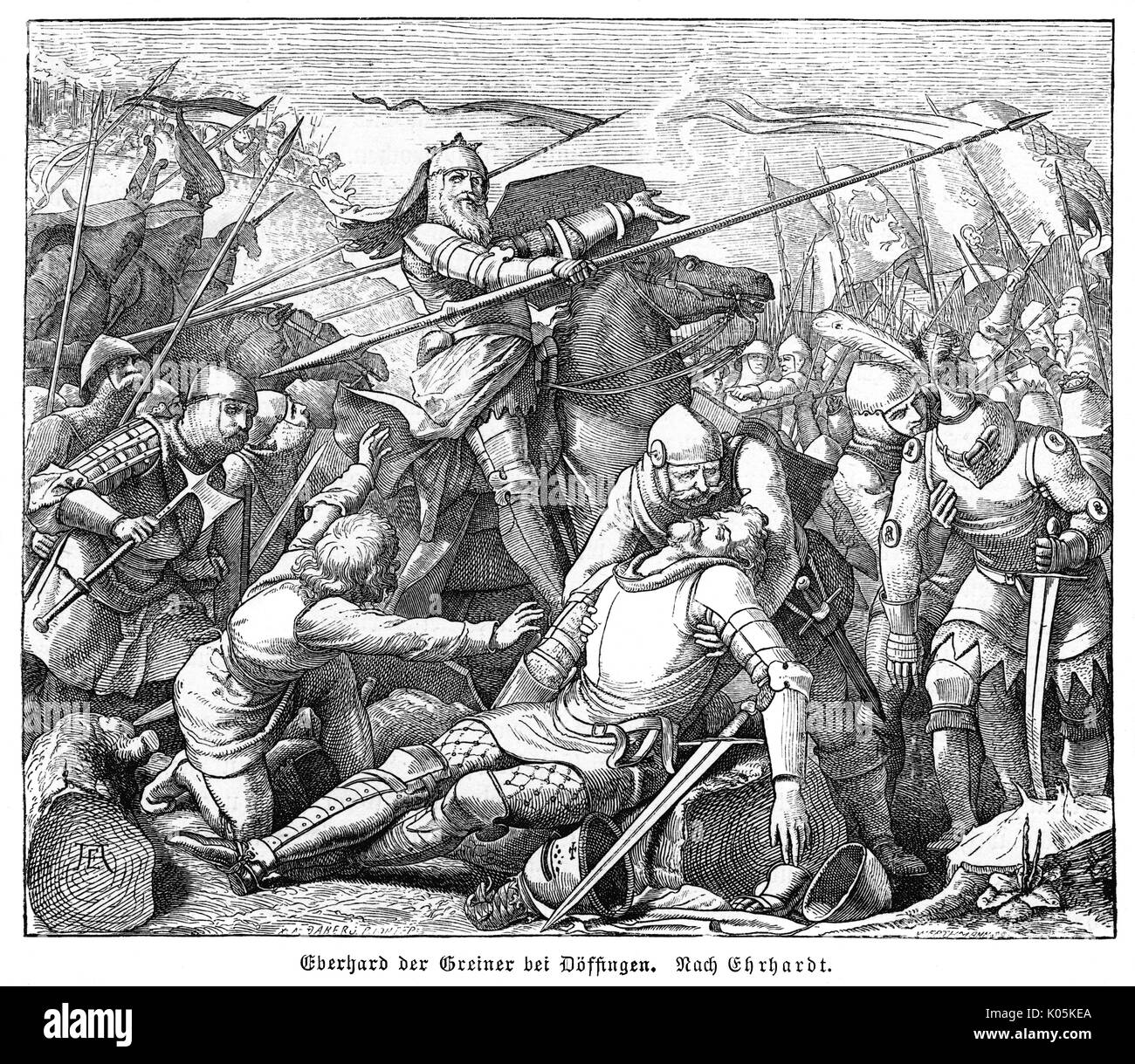 Eberhard II (der Greiner) at  Doeffingen         Date: 23rd August 1388 - Stock Image