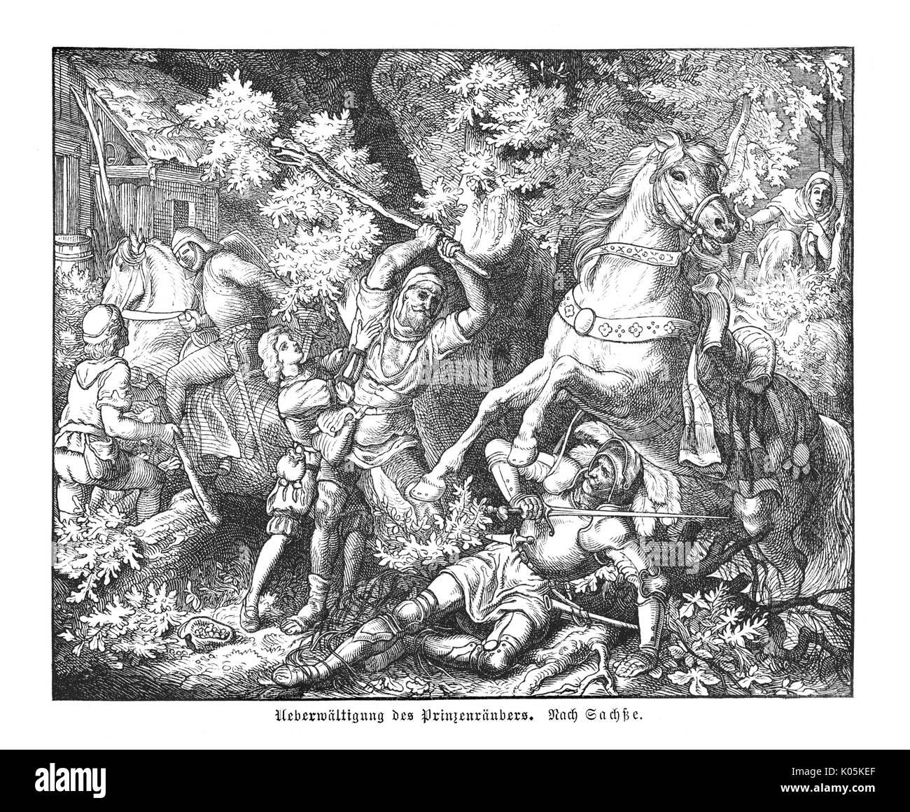 The defeat of the  'Prinzenraubers'         Date: circa 1459 - Stock Image