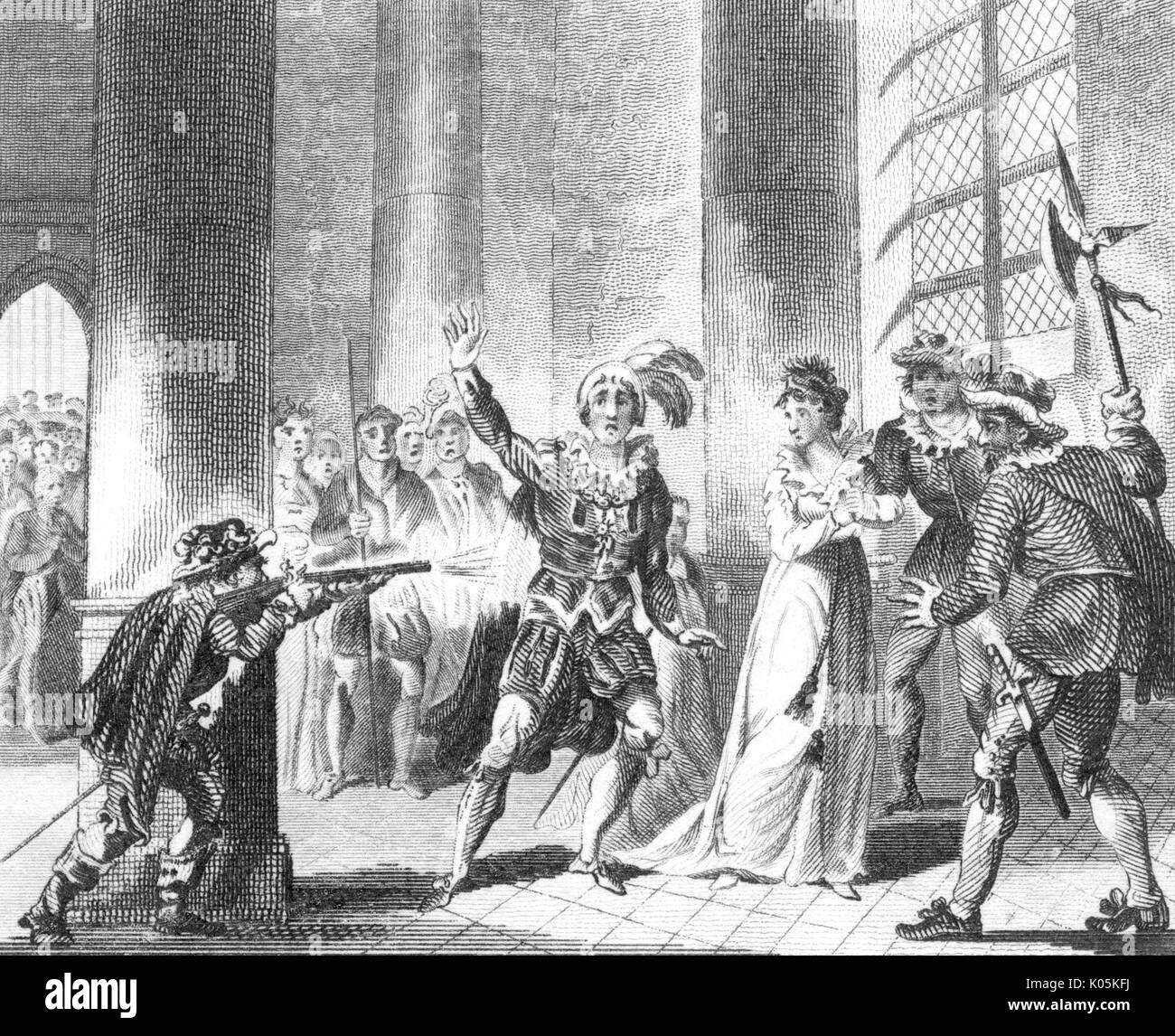 The assasination of William  the Silent of Orange at Delft.         Date: 1584 - Stock Image