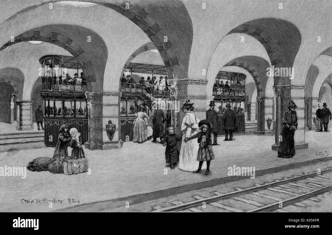 Double-decker trains on the  proposed subway station at  Boston, Massachusetts.       Date: 1892 Stock Photo