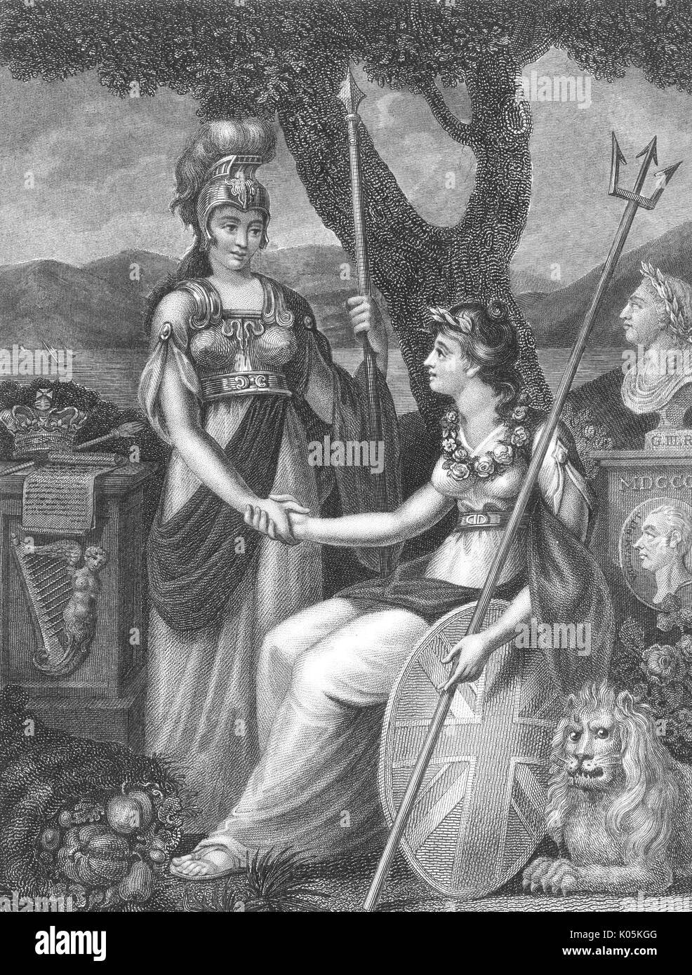 A rather optimistic allegory  of Erin (Ireland) making  friends and shaking hands  with Britannia (Britain).       Date: 1812 - Stock Image