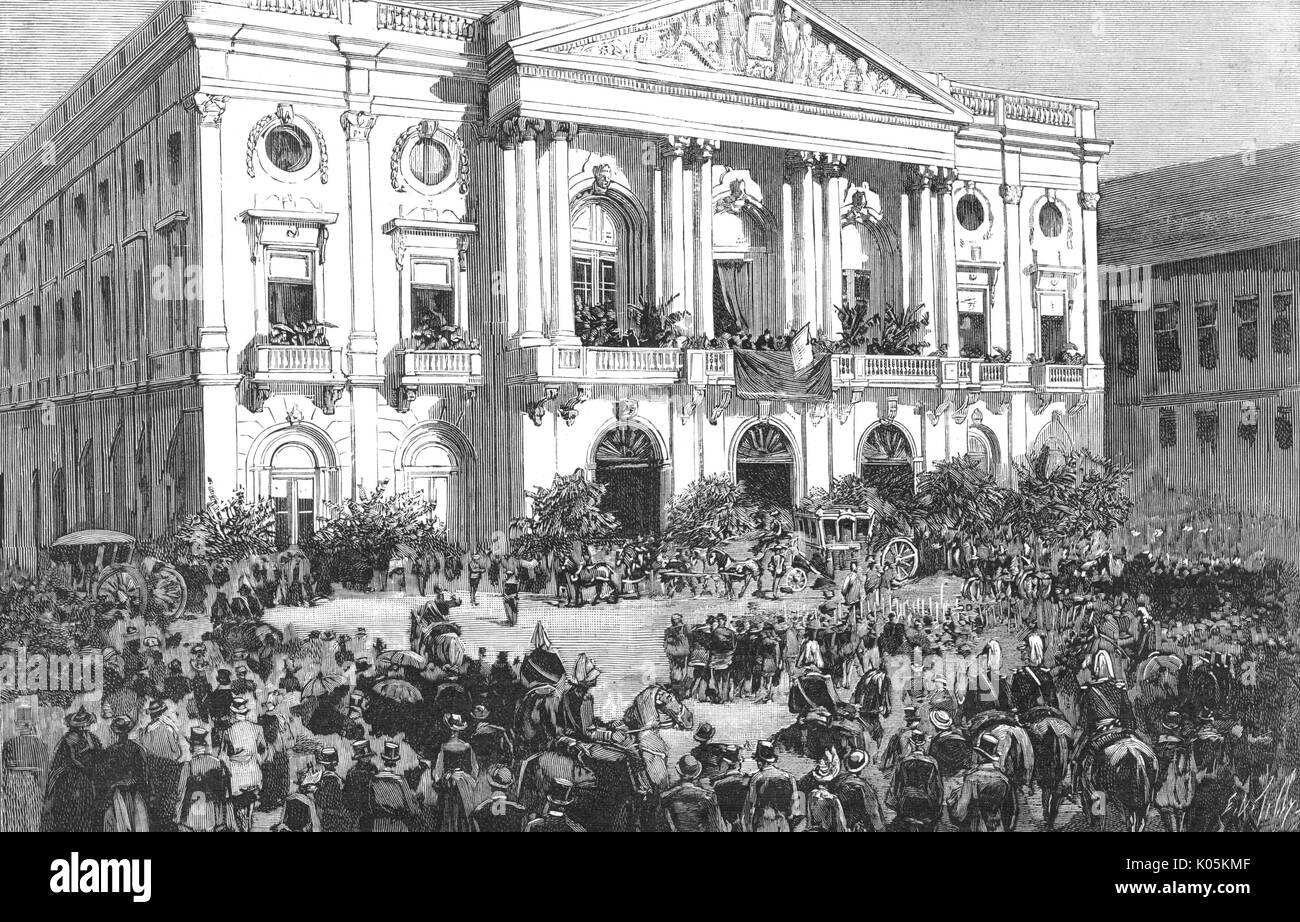 At the proclamation of Carlos  I as King of Portugal, the  royal party arrive at the Town  Hall.       Date: 1890 - Stock Image