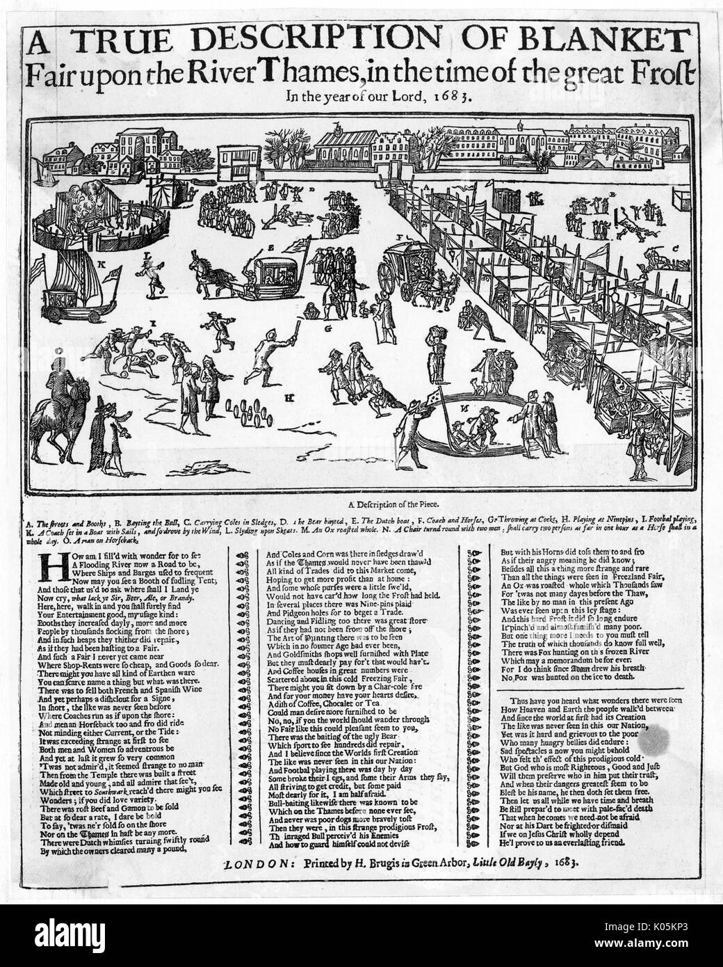 Various activities happening  on the Thames when it froze  over in 1683.  These include  ox-roasting, games, sledging  and skating and a number of  market stalls.     Date: 1683 - Stock Image