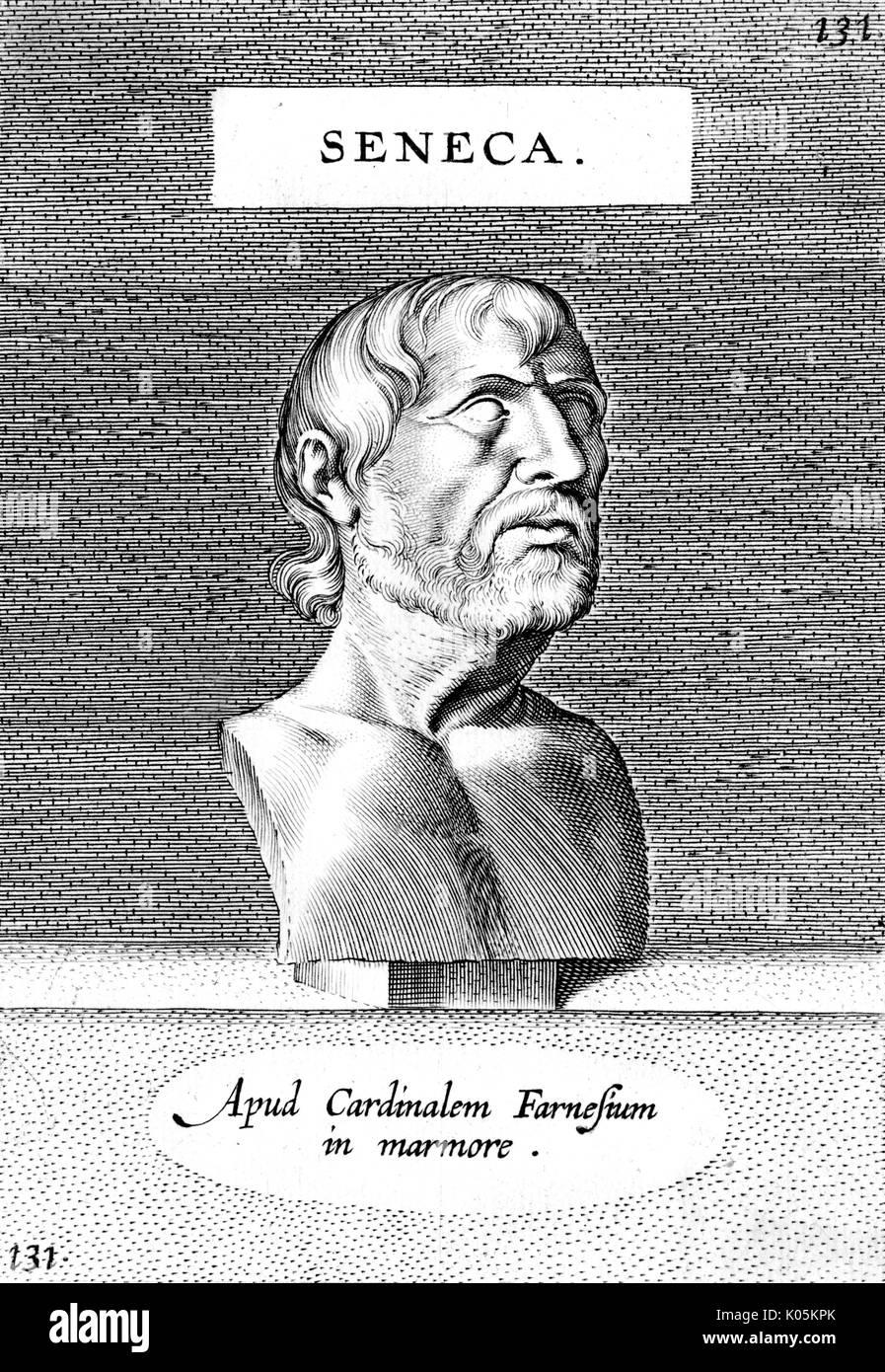 Lucius Annaeus Seneca (the younger) (4BC? - 65 AD) - Roman philosopher        Date: Stock Photo