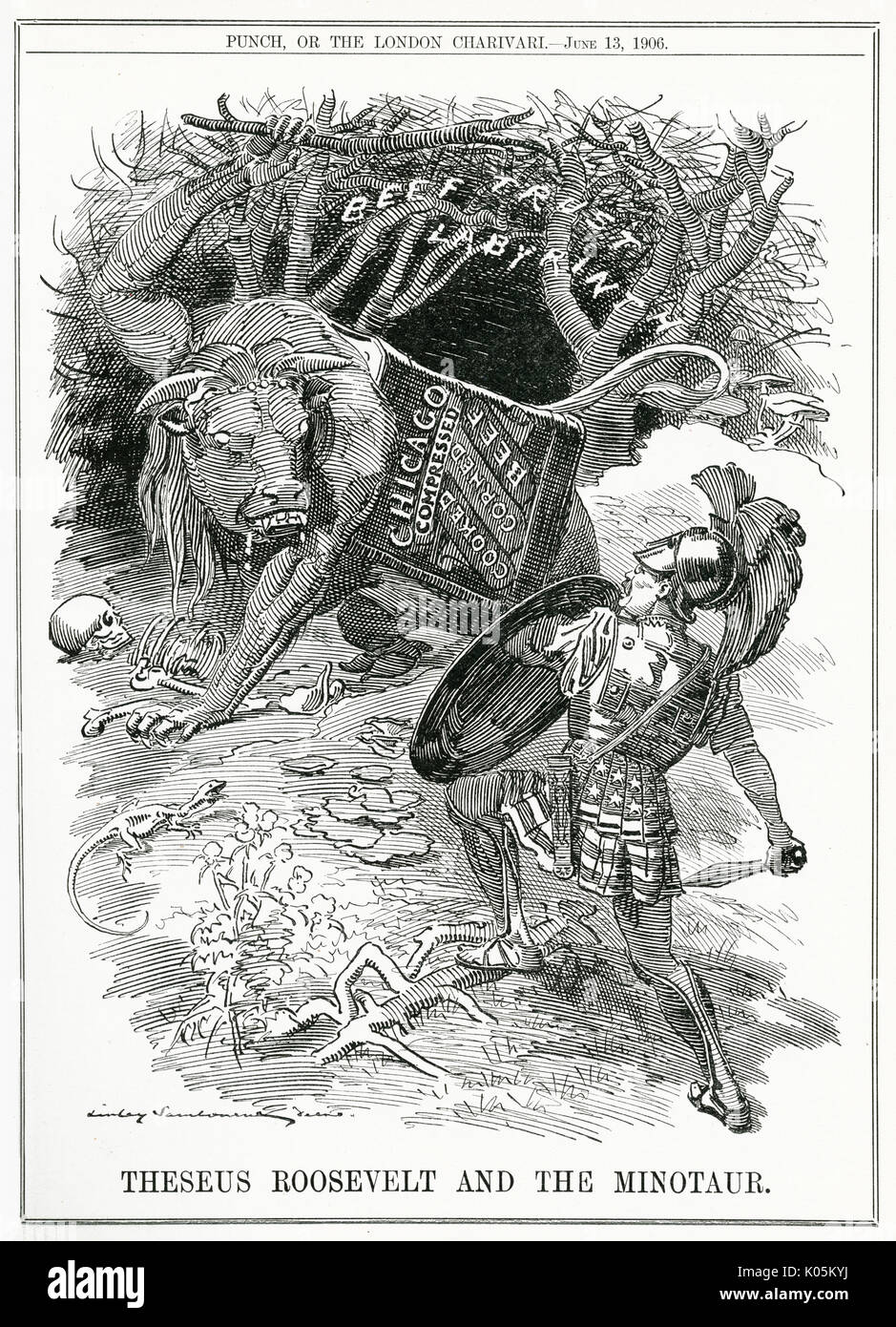'Theseus Roosevelt and the  minotaur': Roosevelt  challenges the Chicago beef  trusts.      Date: 1906 - Stock Image