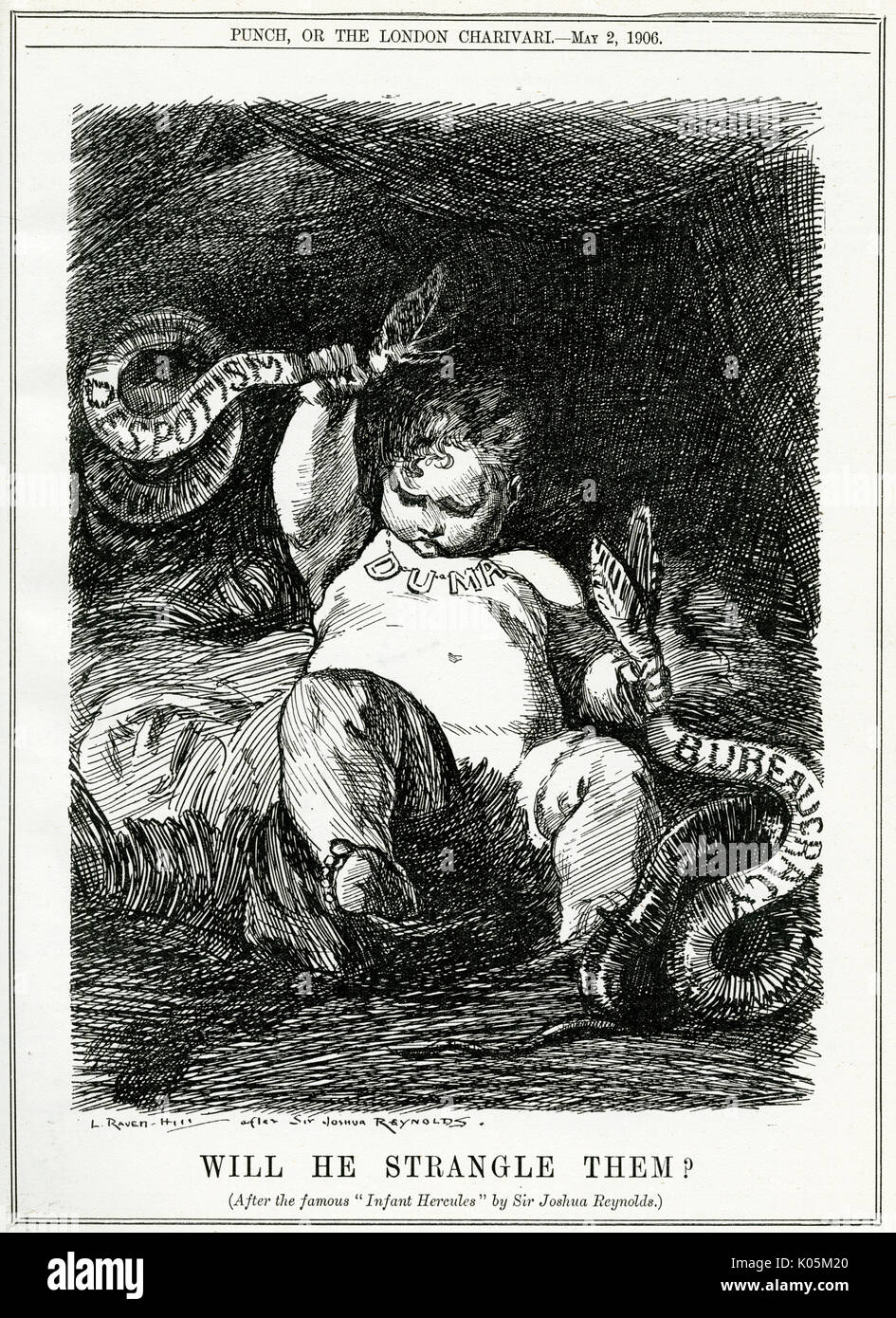 'Will he strangle them?'  Can the new Duma strangle  despotism and bureaucracy?       Date: 1906 - Stock Image