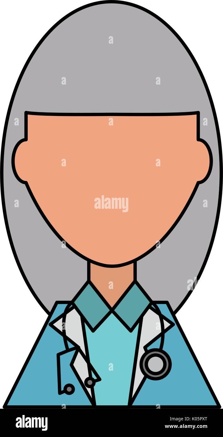 Doctor profile cartoon - Stock Image