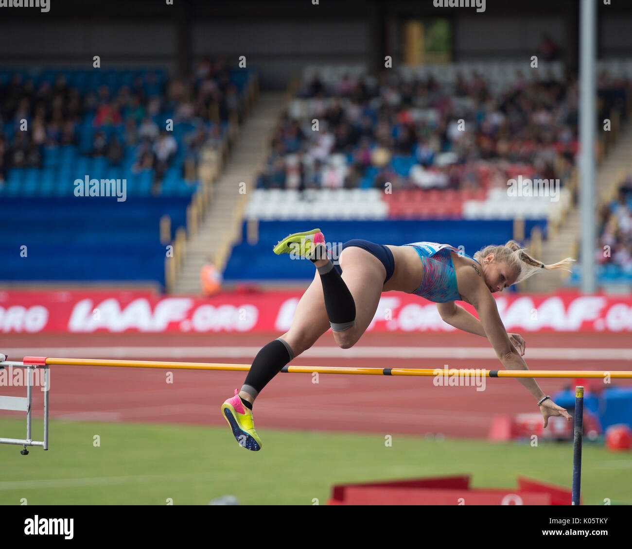 Birmingham England,20th August 2017 IAAF Diamond League meeting Michaela Meijer competes in the pole vault - Stock Image
