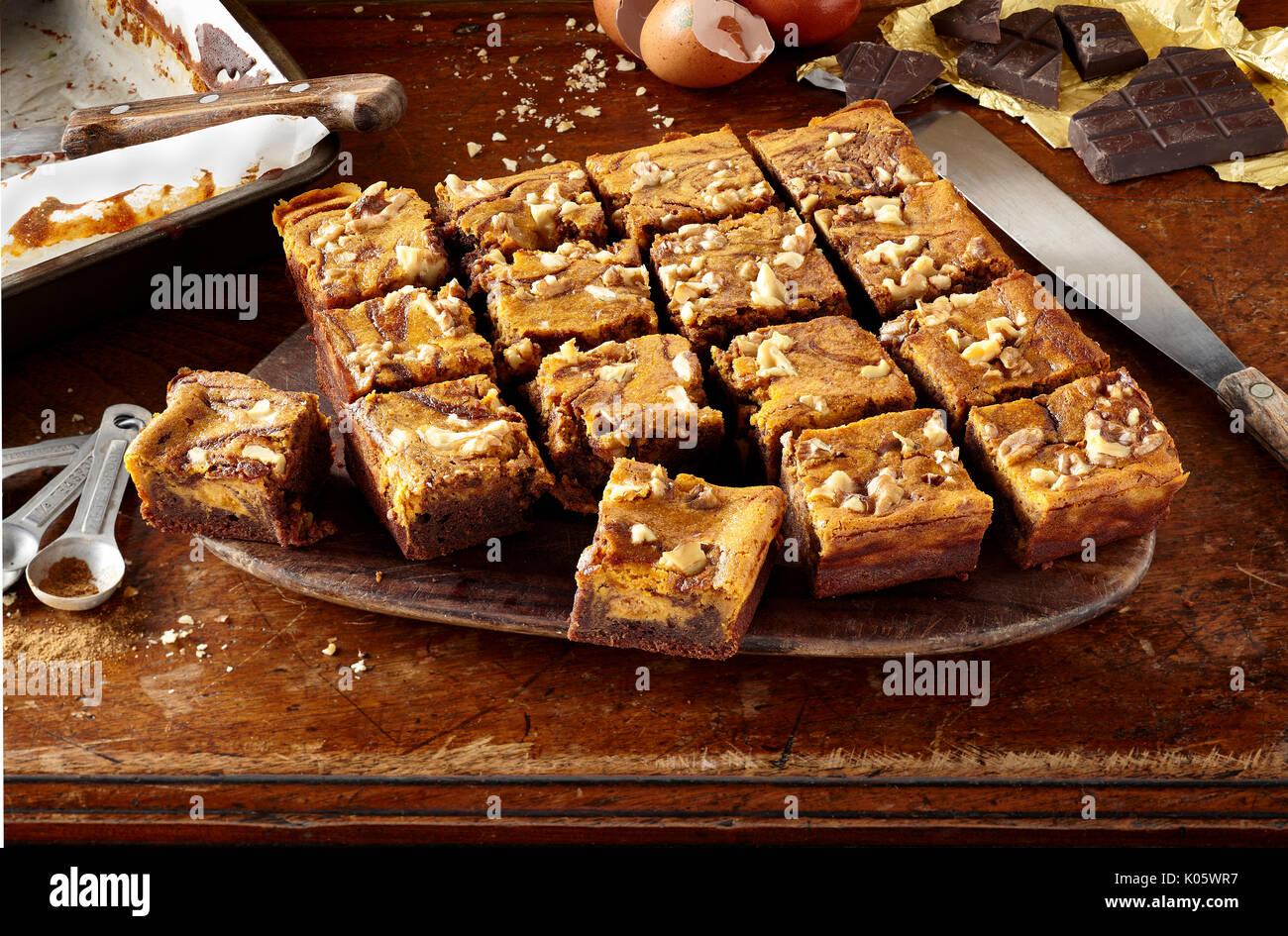 Pumpkin pie swirled brownies - Stock Image