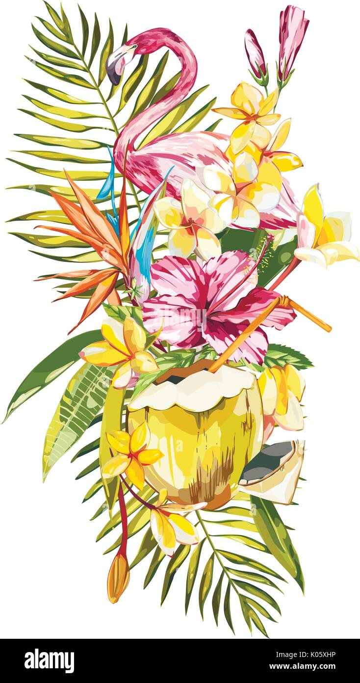 Watercolor Painting Tropical Bouquet With Exotic Flowers Coconut