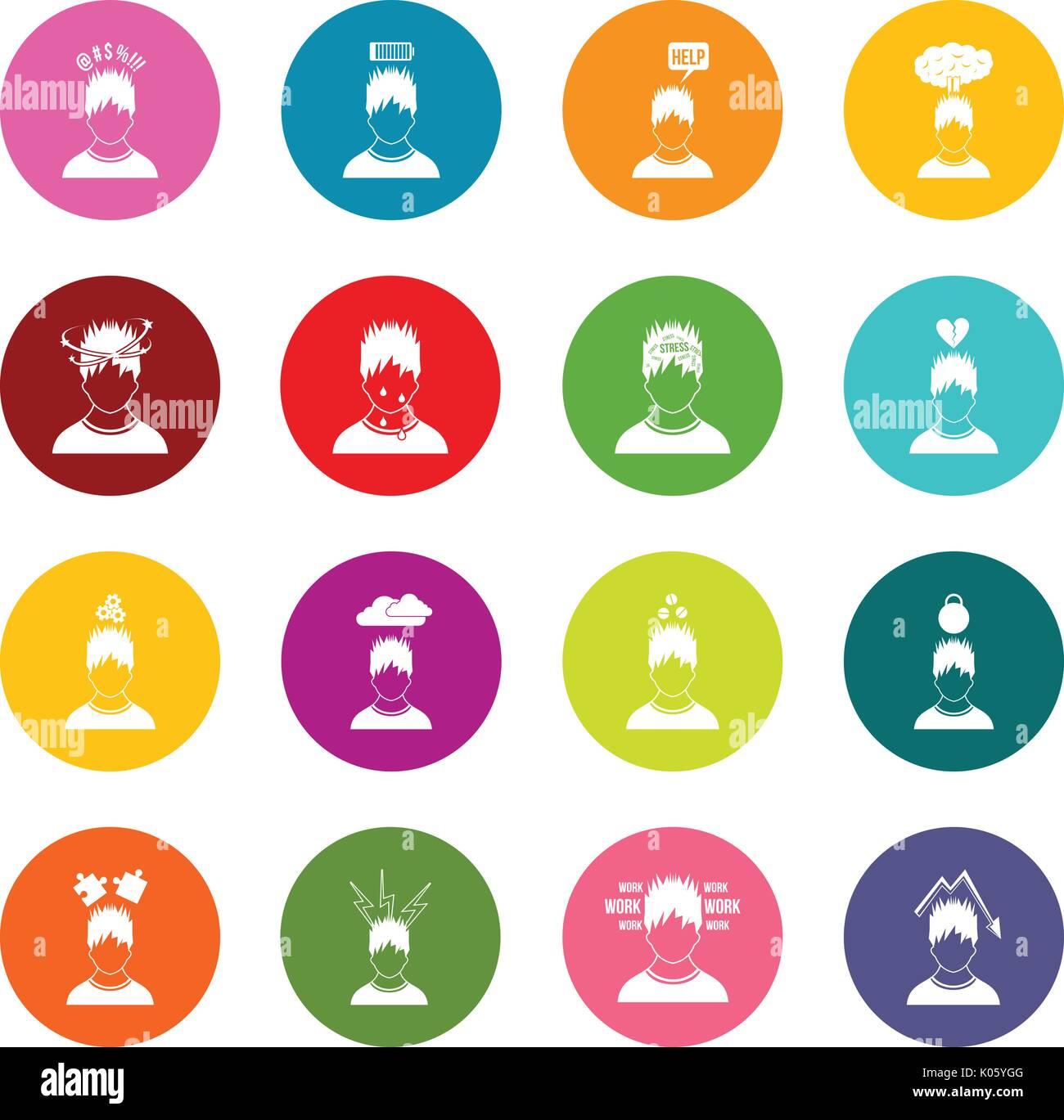 - Stress Icons Many Colors Set Stock Vector Art & Illustration