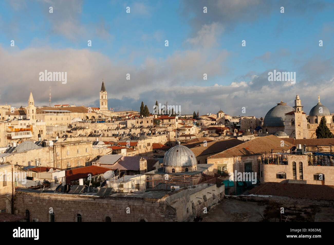 The Jerusalem's Old City Christian Quarter with major Christian sites: the Church of the Holy Sepulchre (R) and the Church of John the Baptist (C). - Stock Image