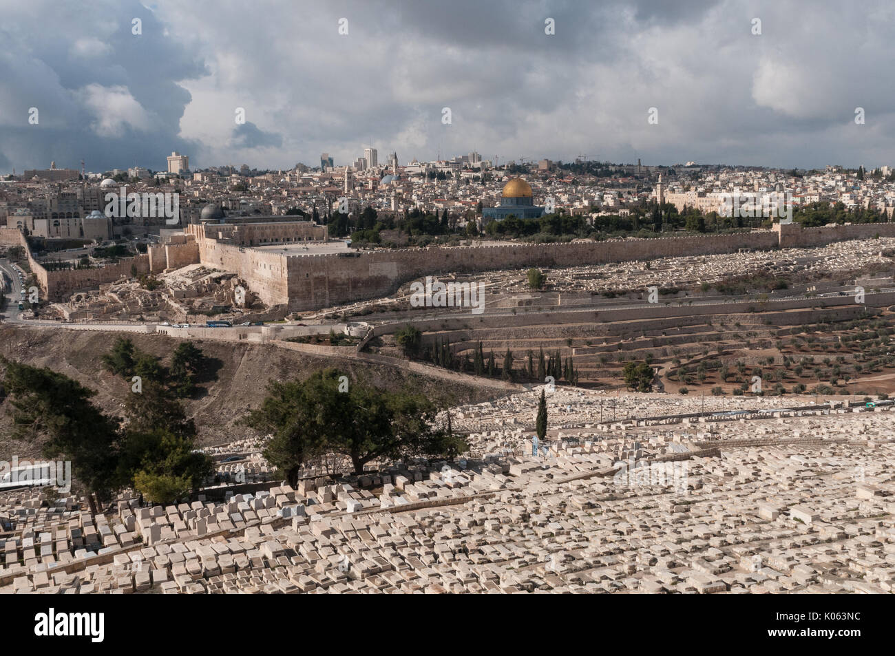Jewish cemetery on the Mount of Olives in Jerusalem, Israel. This burial site holds about 150,000 graves and has been used for over 3,000 years. - Stock Image