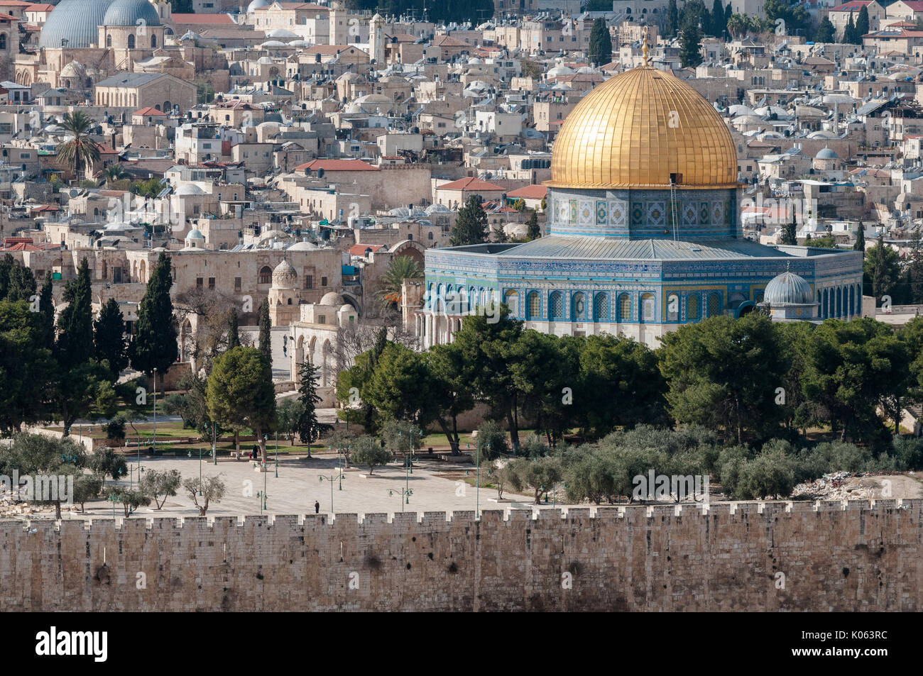 The Dome of the Rock on Temple Mount in Jerusalem, Israel, the holy site of the three monoteistic religions: Judaism, Christianity and Islam. - Stock Image