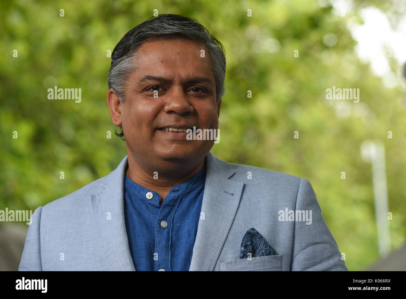 Edinburgh International Book Festival, Scotland, UK. 21st Aug, 2017. Edinburgh International Book Festival Monday 21st August. London-based Indian chef of The Cinnamon Club and restaurater Vivek Singh promotes his books at the fesival today. Credit: Stuart Cobley/Alamy Live News - Stock Image