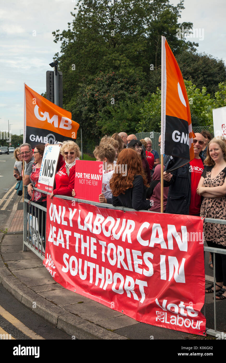 Southport, Lancashire, UK. 22nd Aug, 2017. GMB protests against NHS cuts outside Southport and Formby NHS Trust - Stock Image