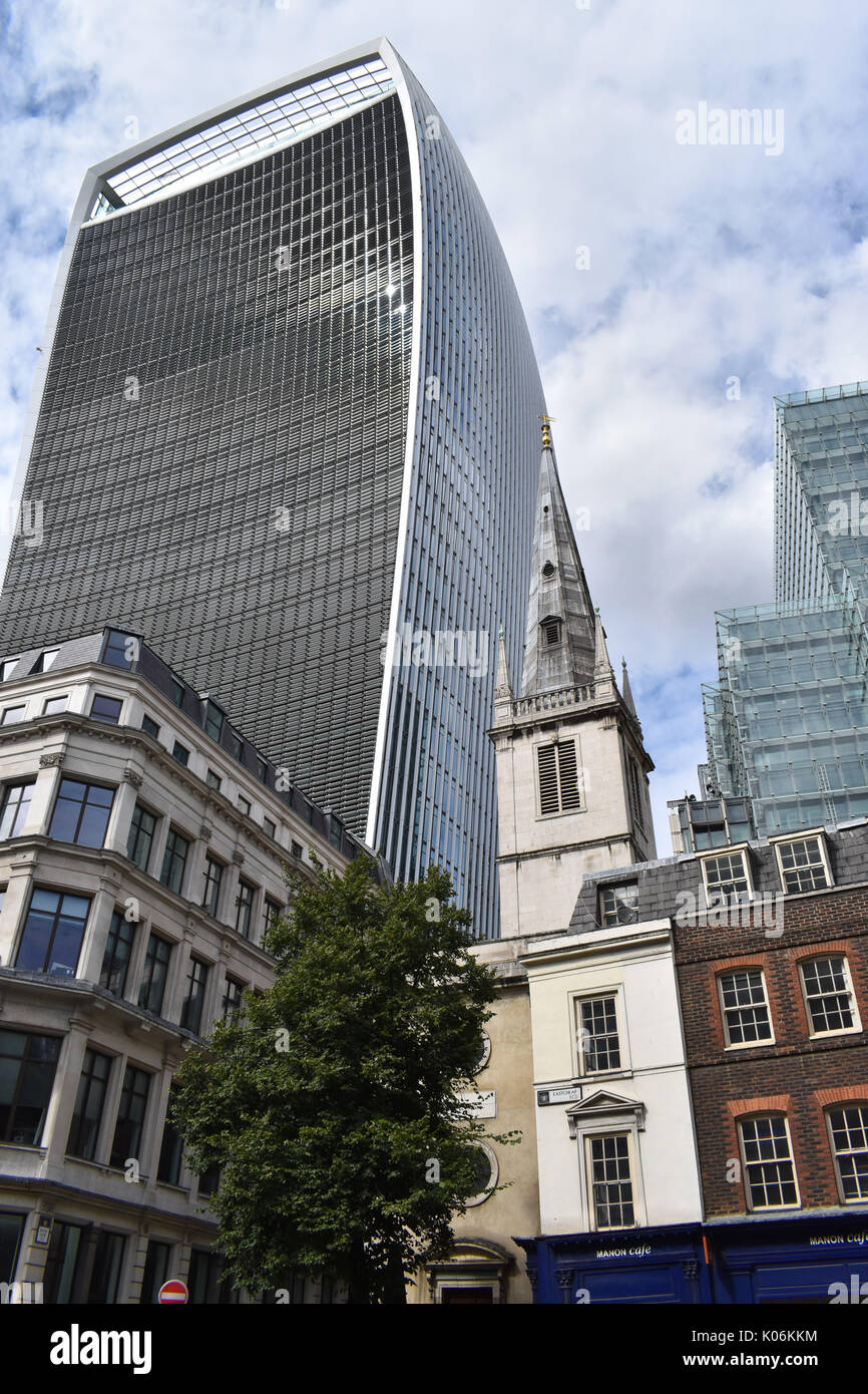London - 20 Fenchurch Street, the 'Walkie Talkie', beside the Wren church St Margaret Pattens. - Stock Image