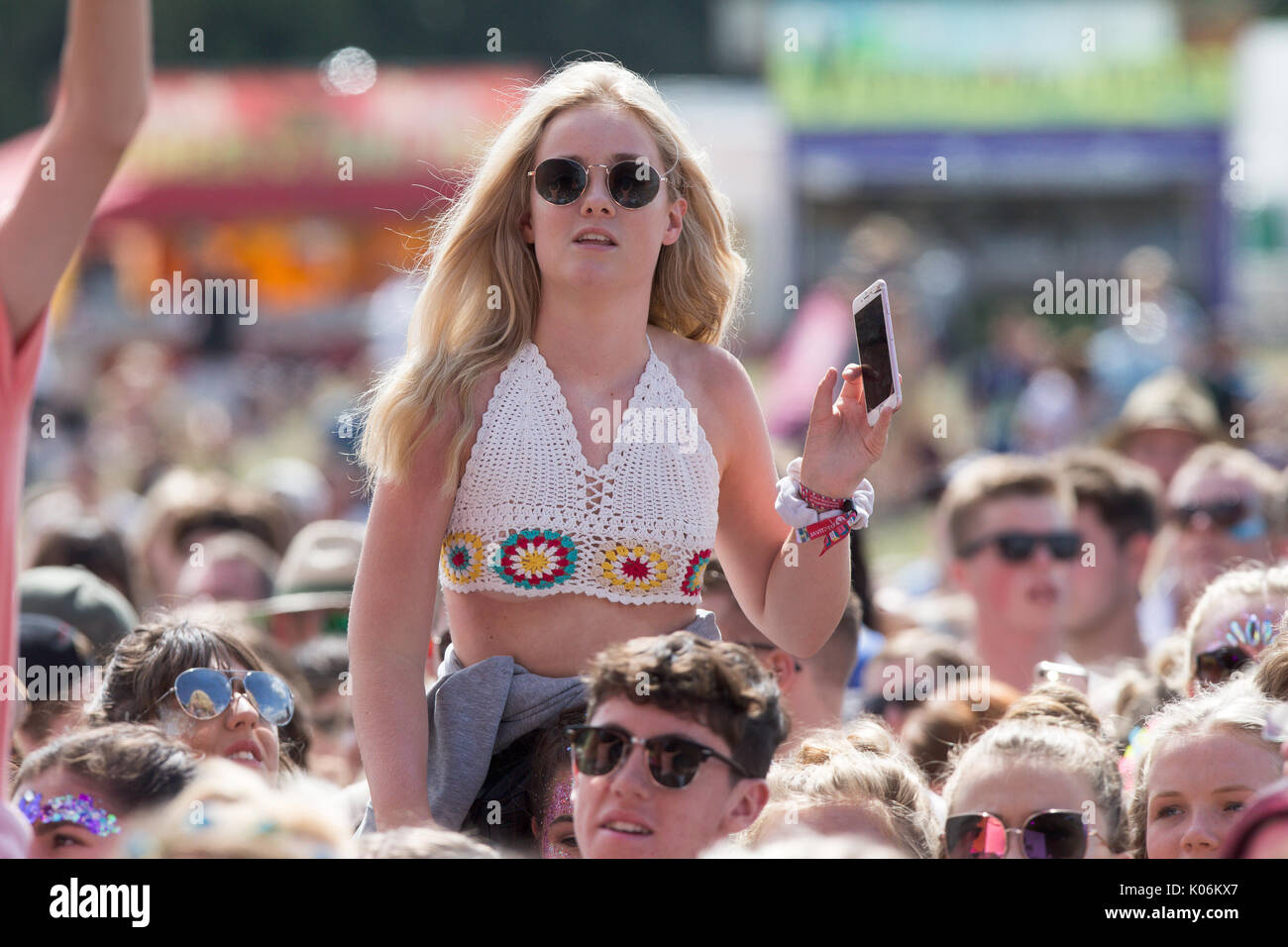 Music fans at Hylands Park,Chelmsford,Essex on Sunday,August 20th at this years V Festival. - Stock Image