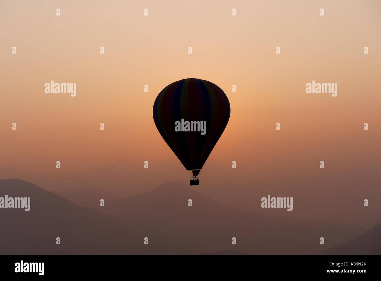 Hot air balloon in the morning, Vangvieng, Laos - Stock Image