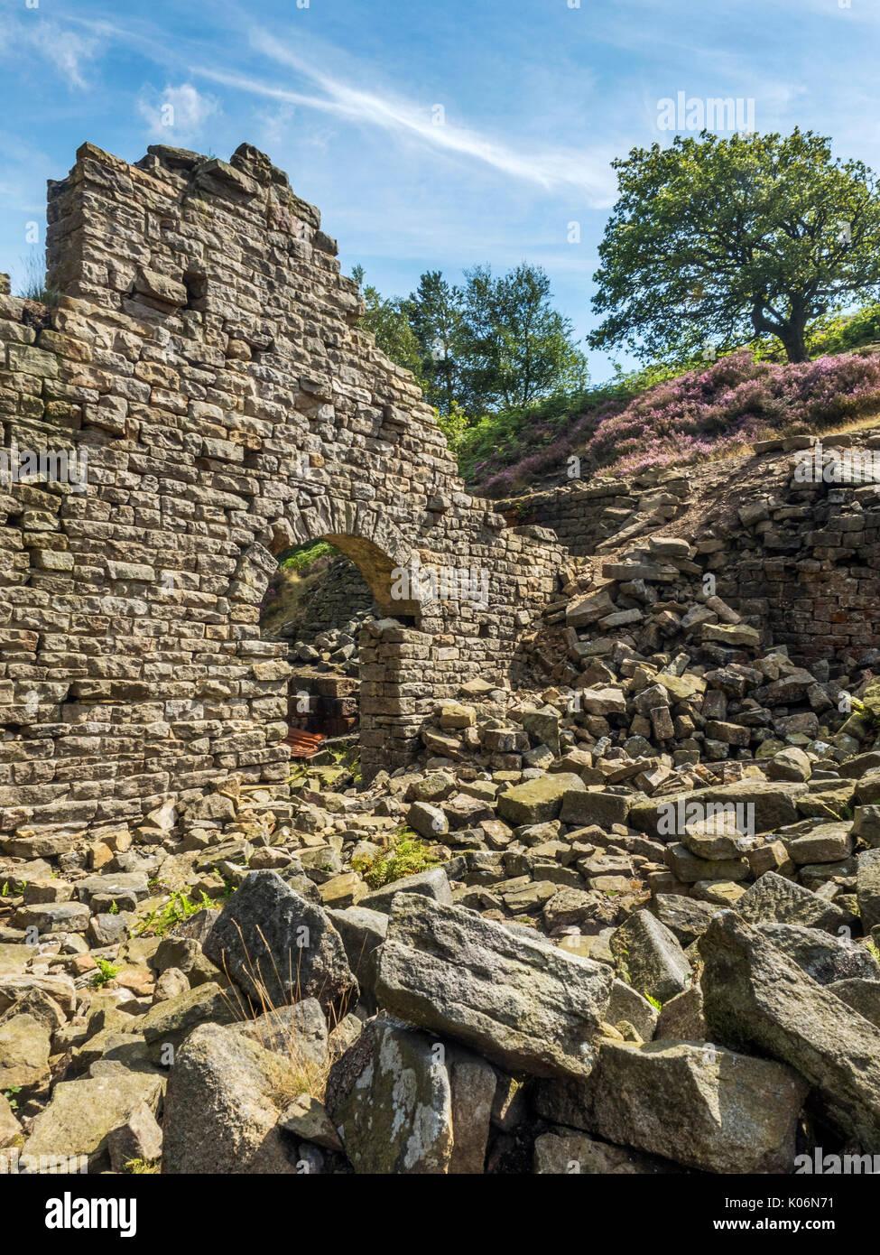 Ruin of Prosperous Lead Smelting Mill near Greenhow Pateley Bridge Nidderdale AONB Yorkshire England - Stock Image