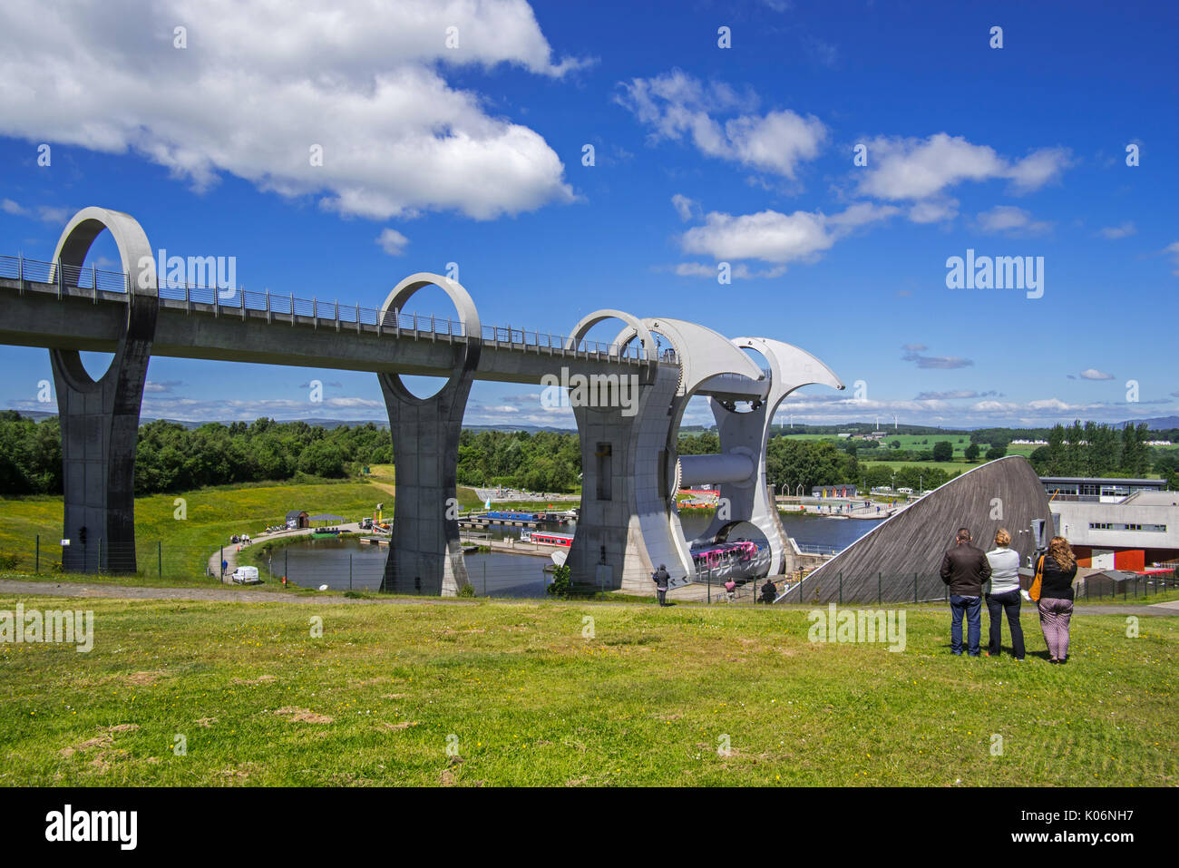 Falkirk Wheel, rotating boat lift connecting the Forth and Clyde Canal with the Union Canal, Stirlingshire, Scotland, UK - Stock Image