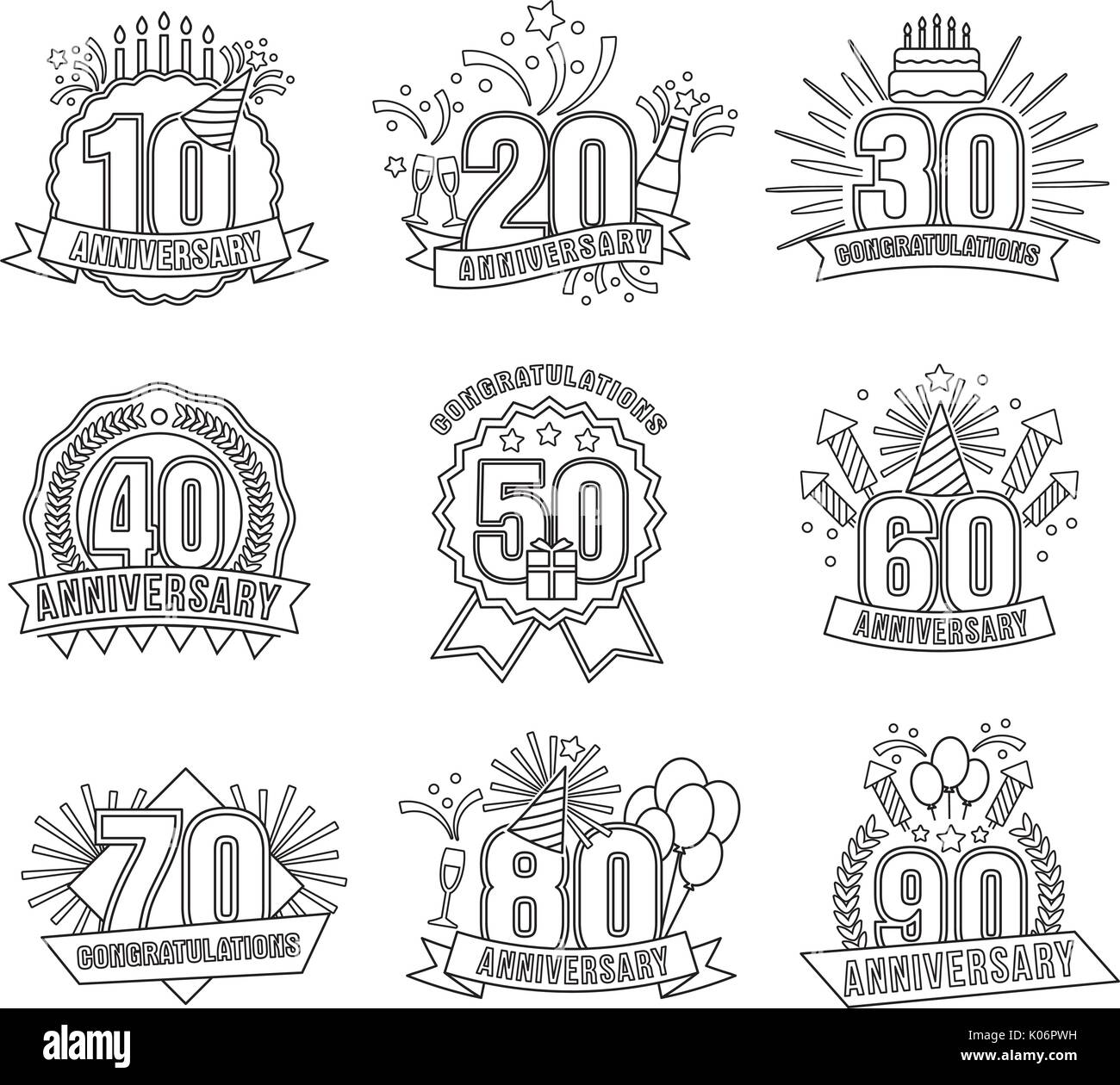 Anniversary coloring stickers style line art set Stock Vector