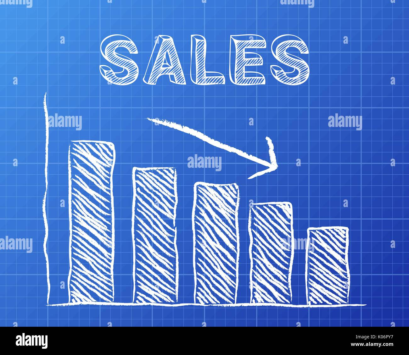 Decreasing graph and sales word on blueprint background stock vector decreasing graph and sales word on blueprint background malvernweather Gallery