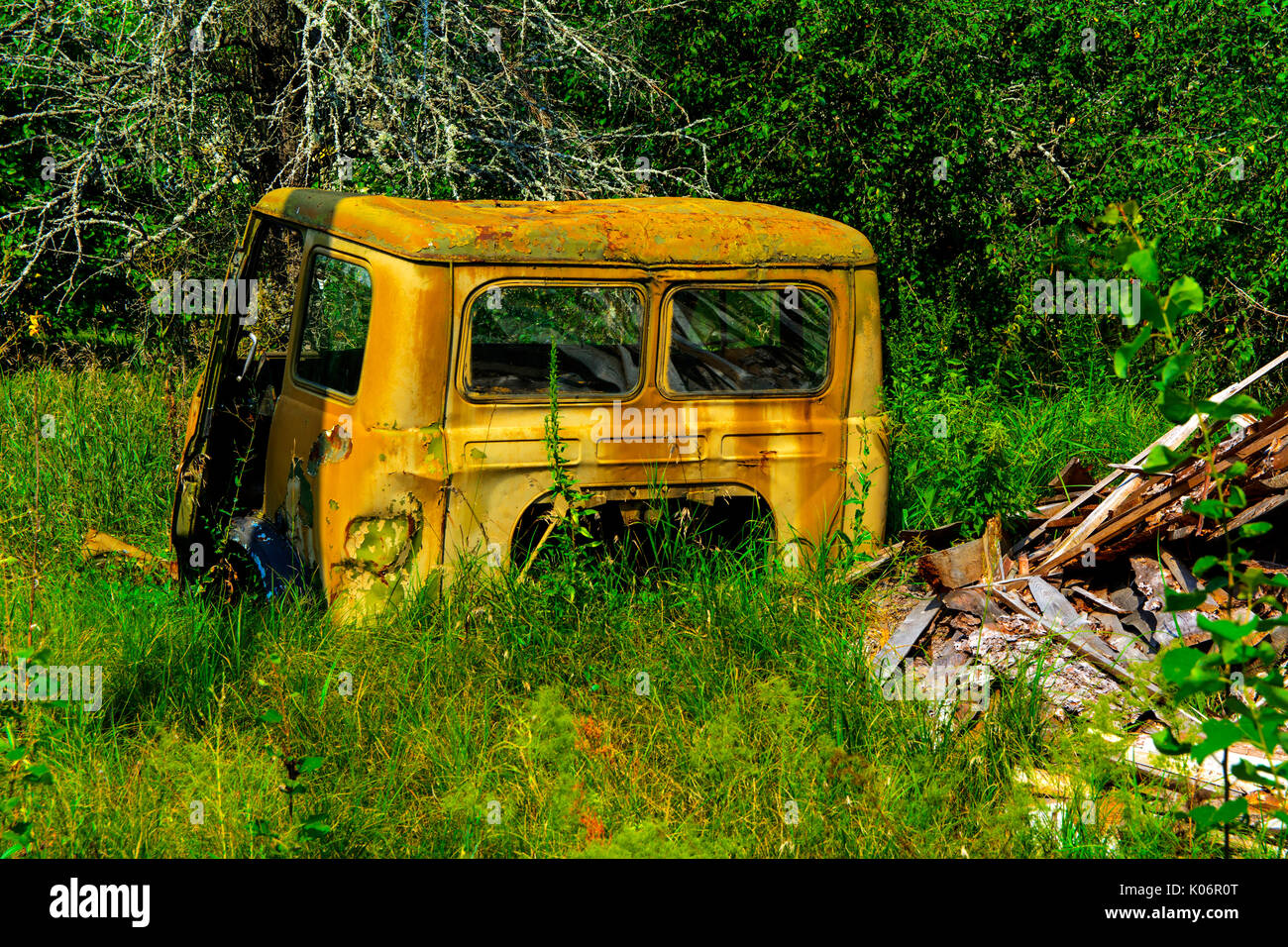 Abandoned truck rusty cab. Dead military unit. Consequences of the Chernobyl nuclear disaster, August 2017. - Stock Image