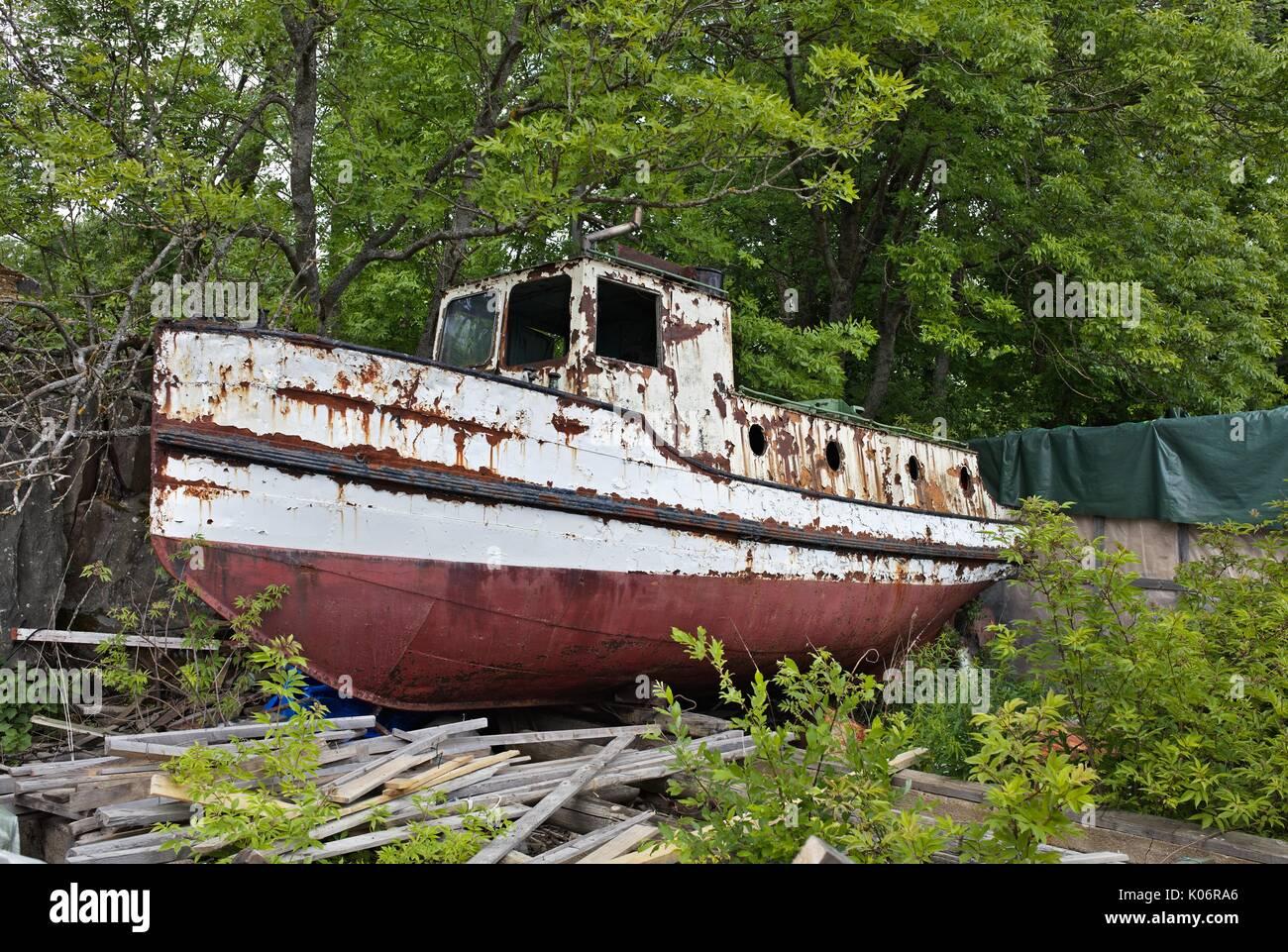 Shipwreck on Suomenlinna, Finland - Stock Image