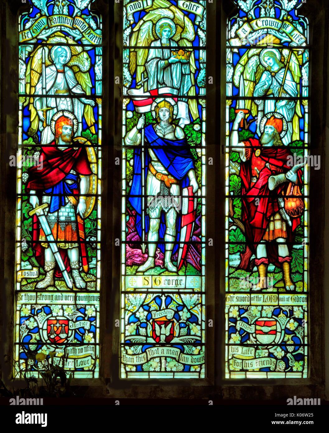 Joshua, St. George, Gideon, stained glass window, All Saints church, Warham, Norfolk, England, UK Stock Photo