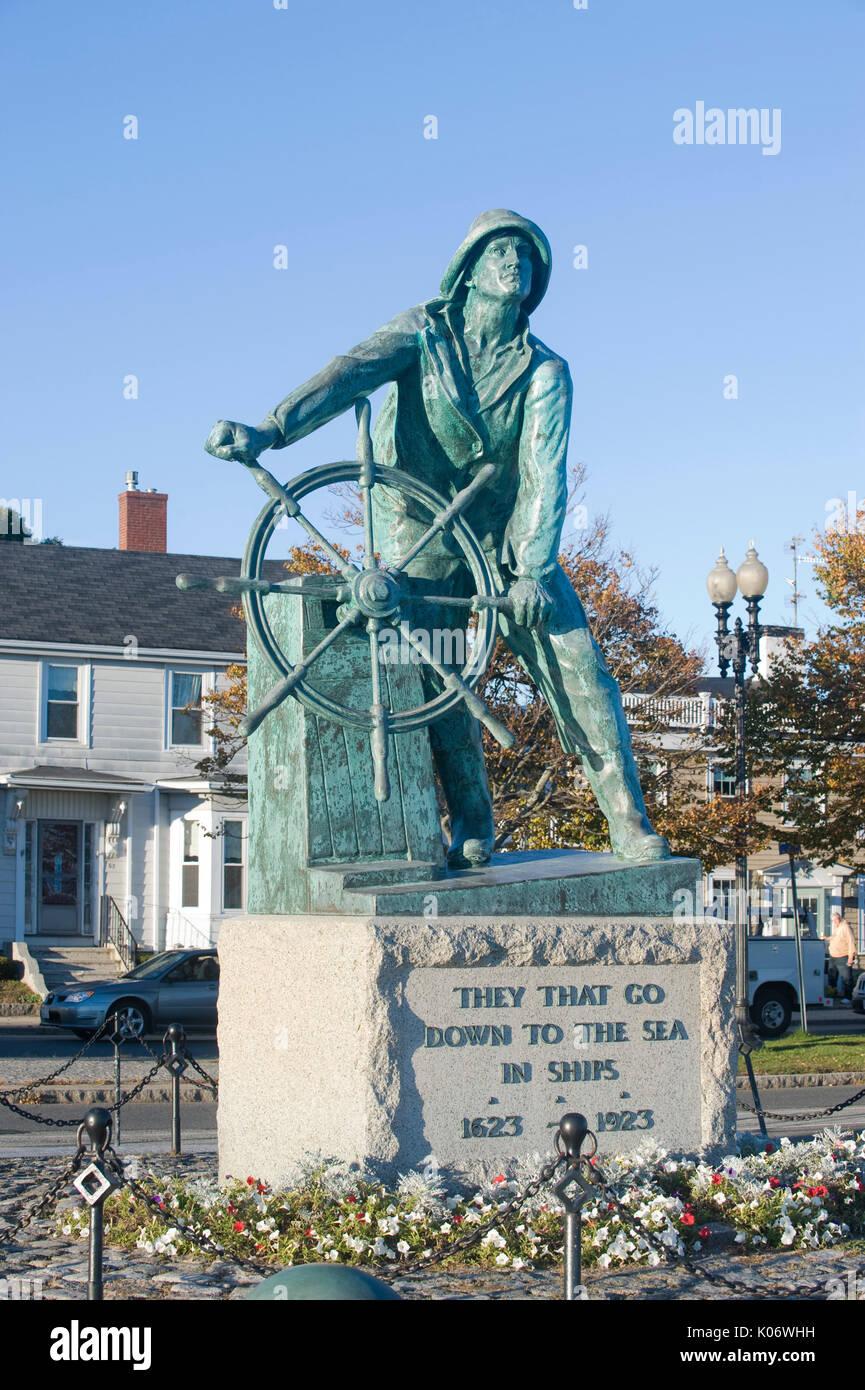 Man at the Wheel, Fisherman's Memorial Cenotaph, Gloucester, MA - Stock Image