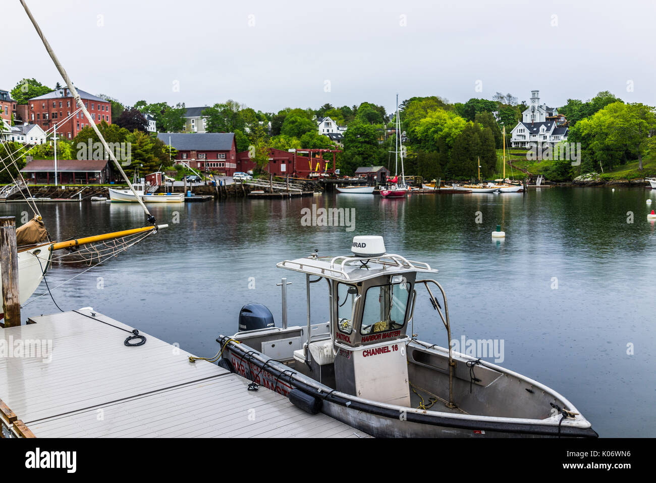 Rockport, USA - June 9, 2017: Harbor Master sign on boat in small Maine village marina - Stock Image