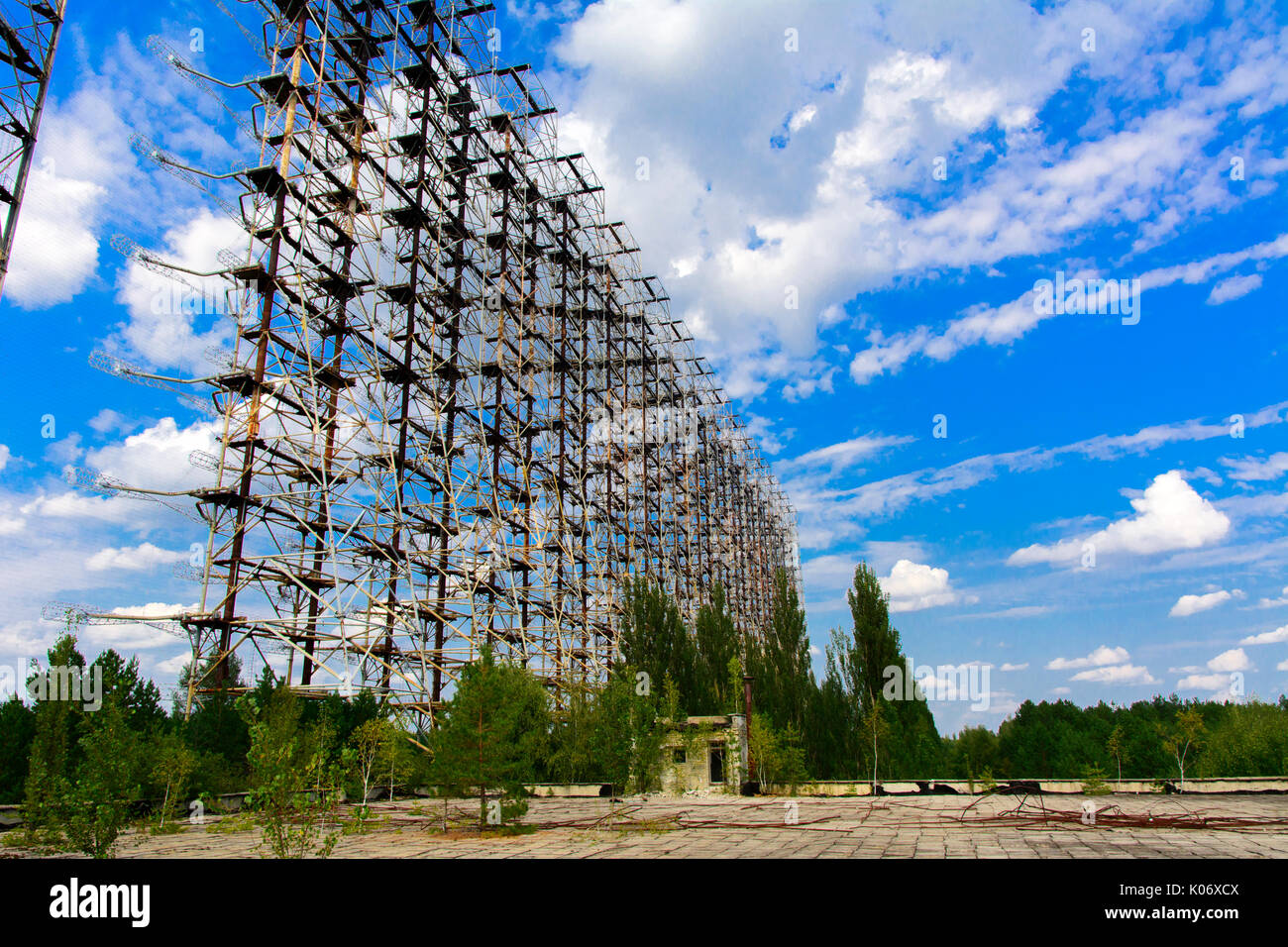 Large field of the looted antenna of the military object of the PRO of the USSR. Dead military unit. Consequences of the Chernobyl disaster, August 20 - Stock Image