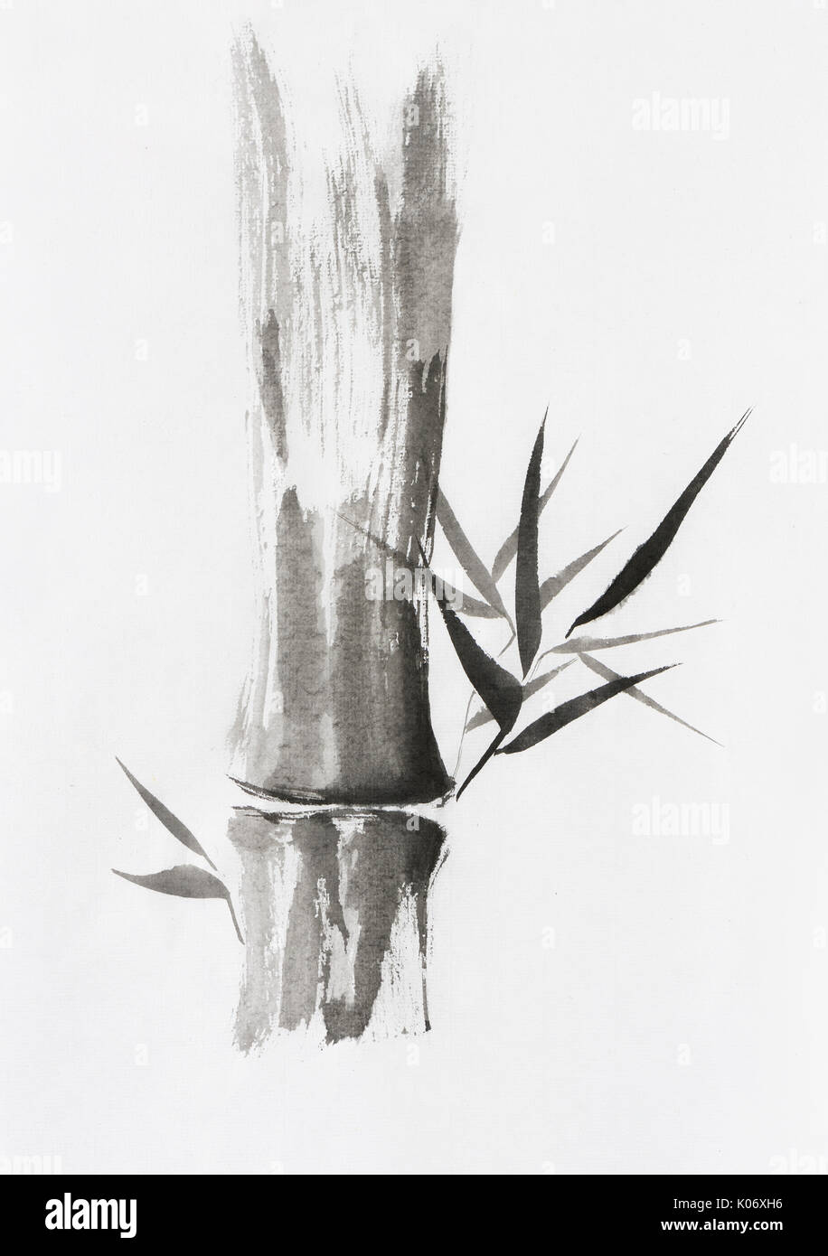 Beautiful Zen painting of bamboo stalk and leaves. Sumi-e Chinese Japanese black ink on rice paper painting fine art. - Stock Image