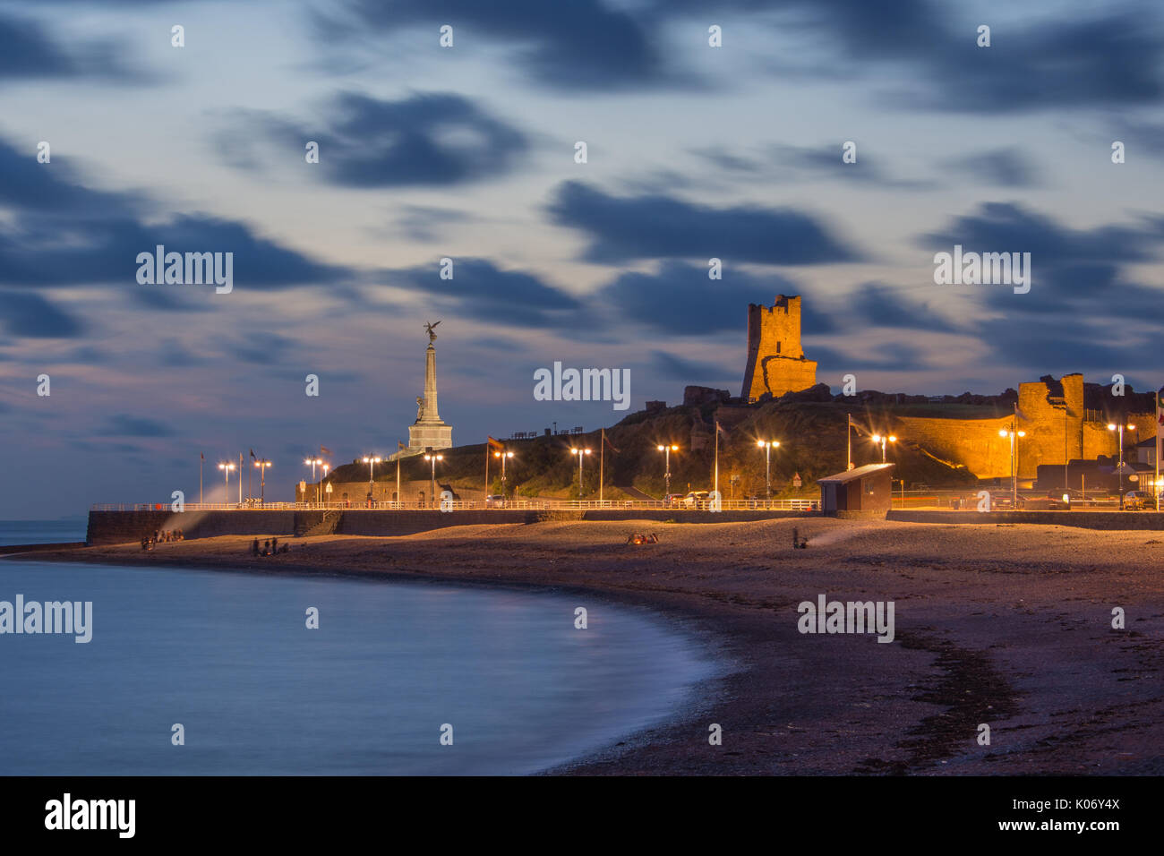 Aberystwyth's south beach is a popular place for students to hold  barbeques and to socialise. - Stock Image