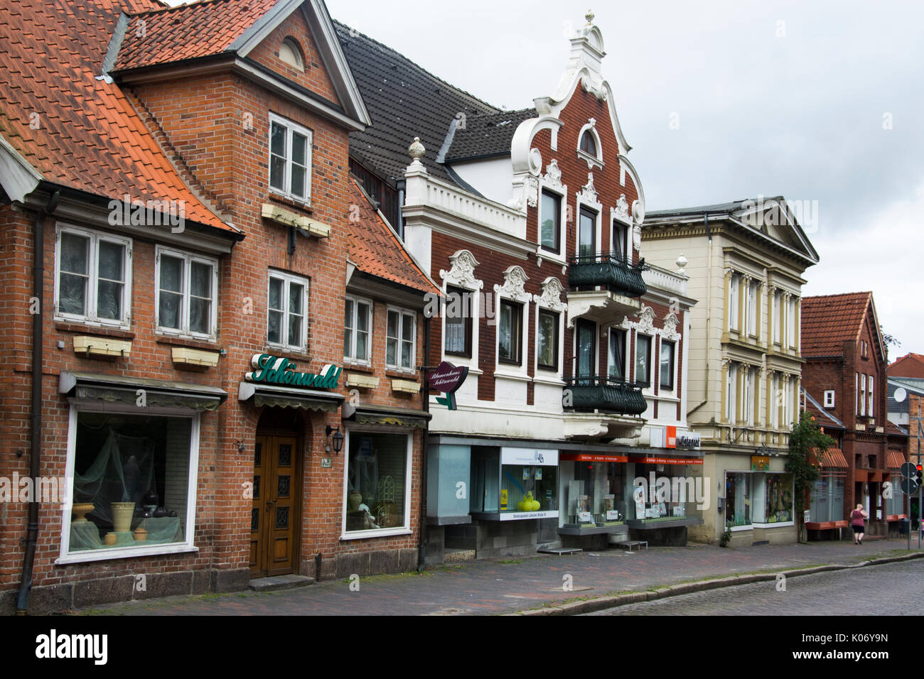 19th century. streetscape on Lubeckerstrasse in Eutin, Schleswig-Holstein - Stock Image