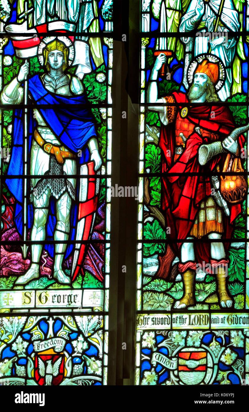 St. George, Gideon, stained glass window, All Saints Church, Warham, Norfolk, England, UK, English School, early 20th century - Stock Image