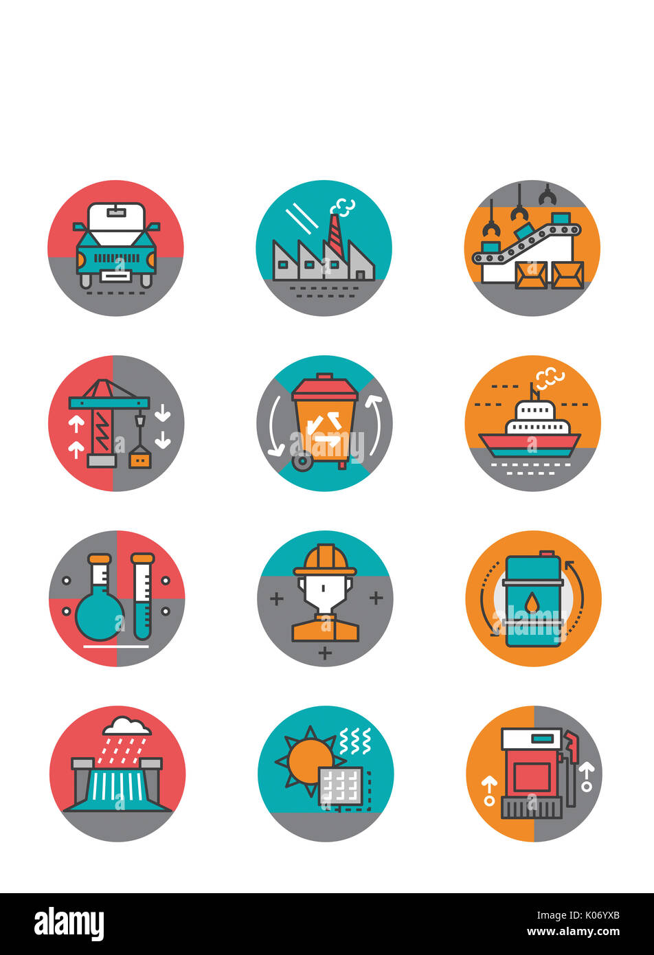 Set of various icons related to industries - Stock Image