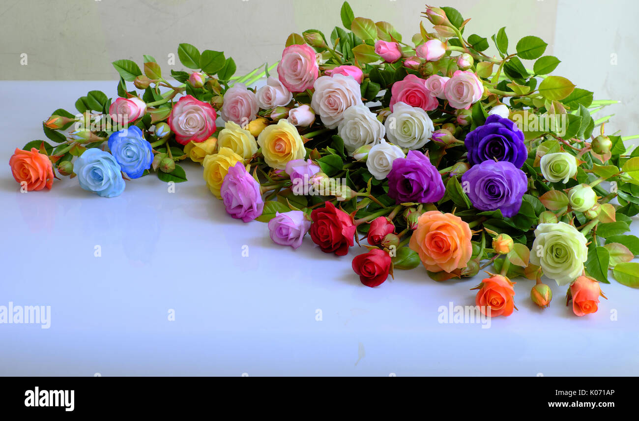 Colorful roses flower background group of multicolor rose make from colorful roses flower background group of multicolor rose make from clay handmade product from clever of hand ornament from clay art so amazing izmirmasajfo Images