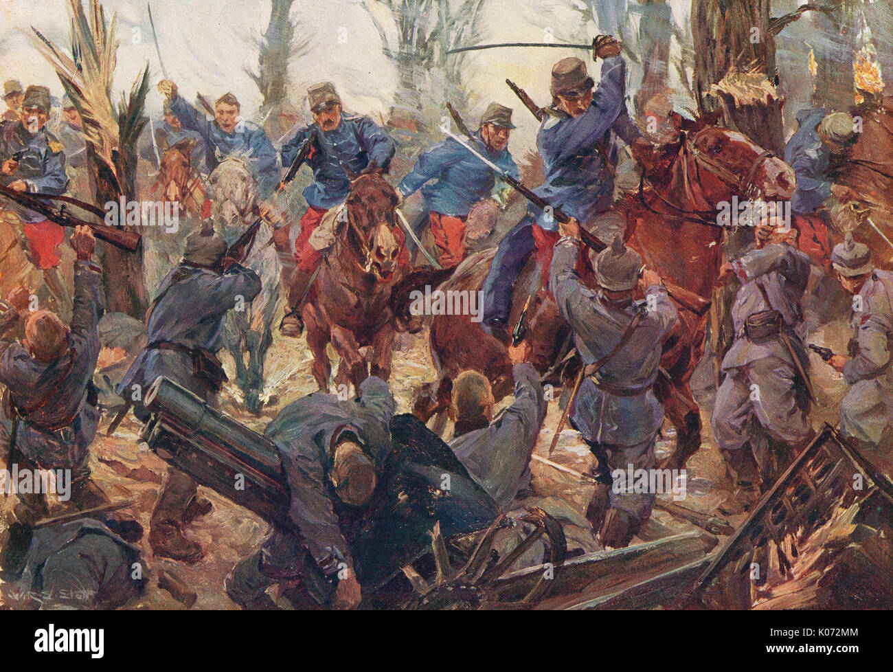 French light cavalry charge at Lassigny, 1914, WW1 - Stock Image