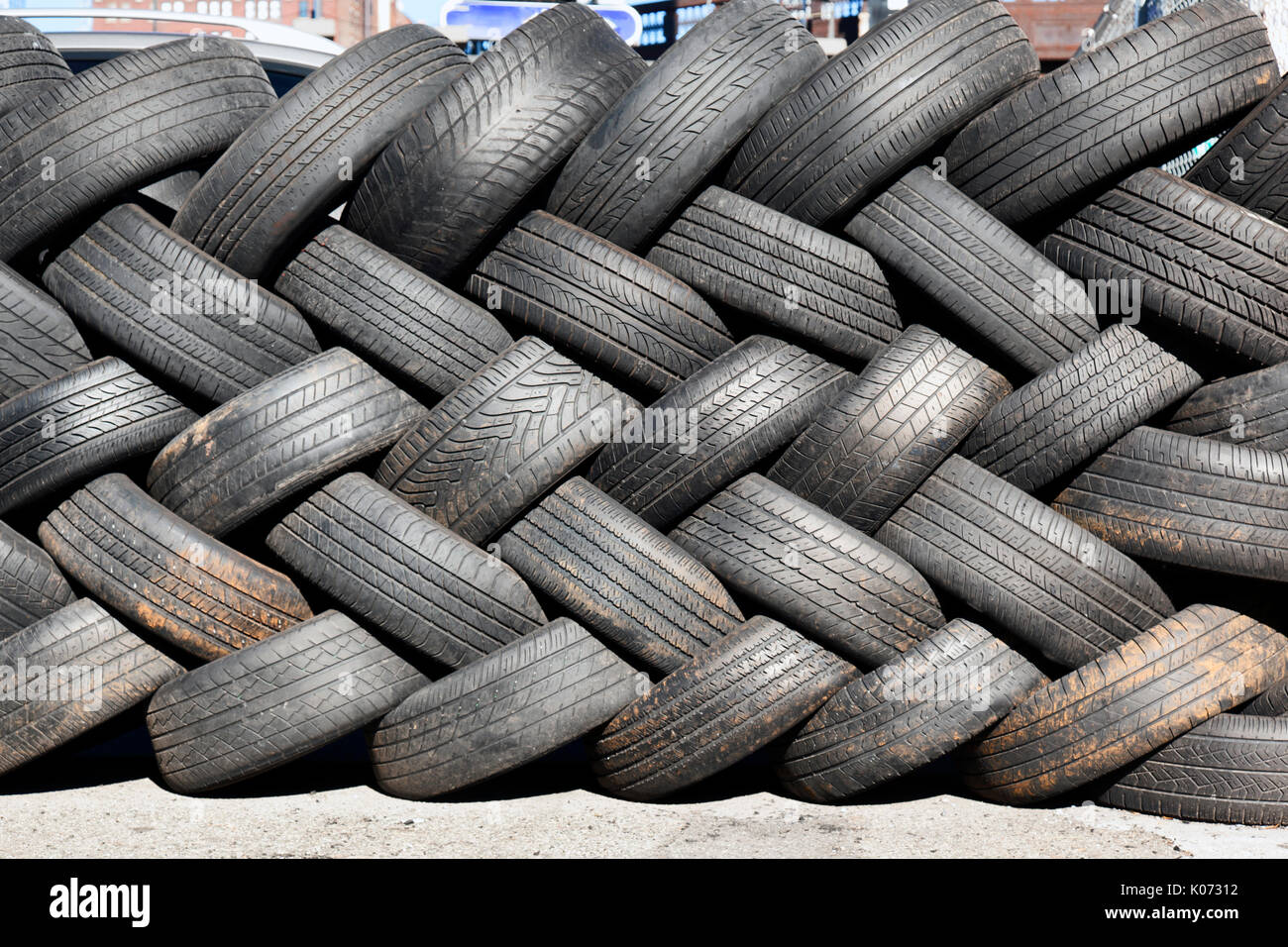 Used Car tires in a junk yard Stock Photo: 155049358 - Alamy