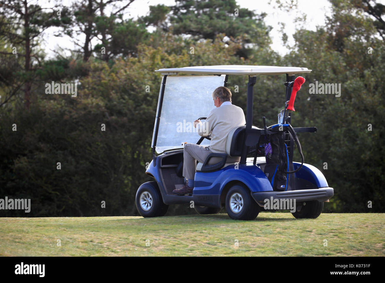 Senior golfer in a golf buggy on the course. - Stock Image