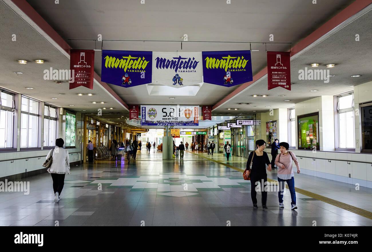 Yamagata, Japan - May 19, 2017. People walking at the railway station in Yamagata, Japan. Yamagata Prefecture has, Stock Photo