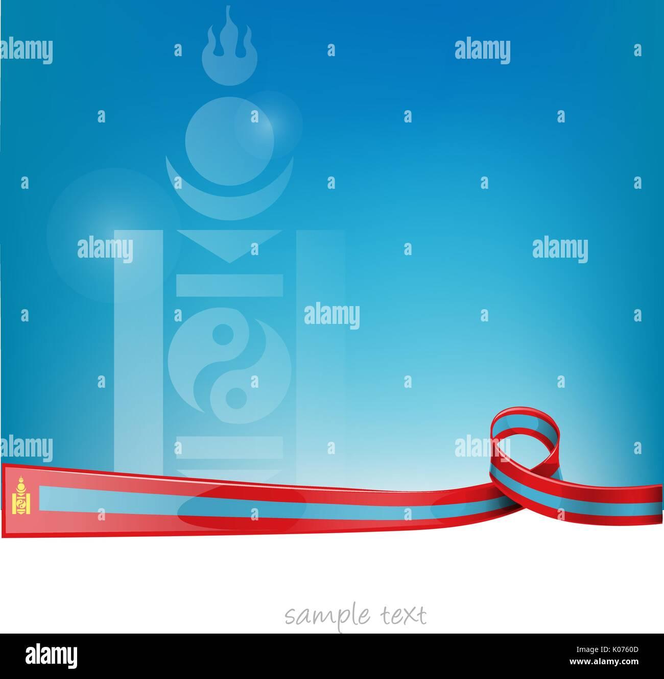 mongolia ribbon flag on blue sky background - Stock Vector