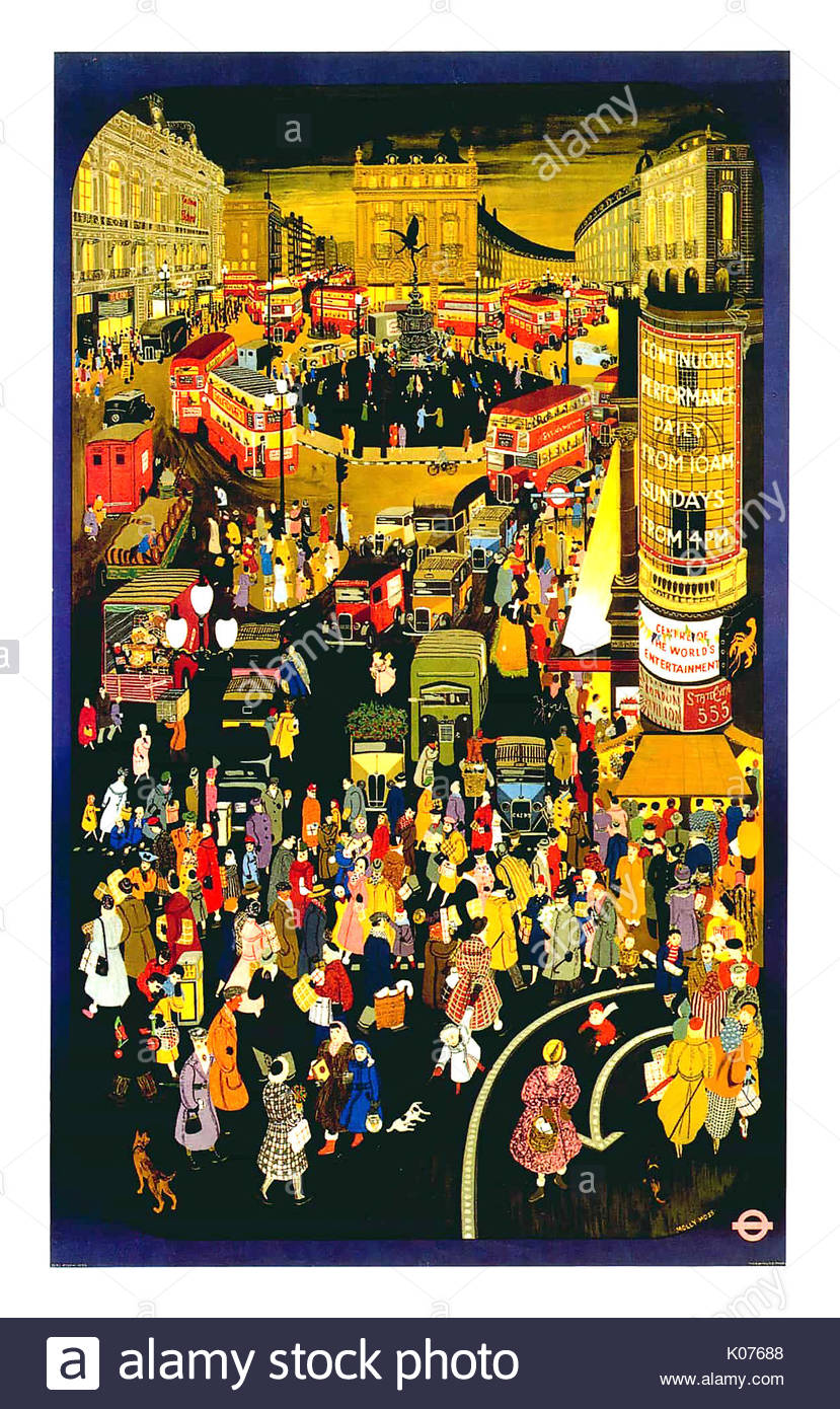 London Underground poster showing Piccadilly Circus painted by Molly Moss in 1950, titled 'Out and About in Winter Stock Photo