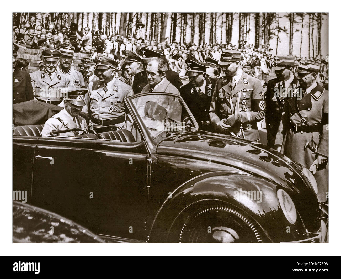 ADOLF HITLER with DR. PORSCHE at the launch of 'the people's car' KDF VW Volkswagen Beetle prototype convertible Stock Photo