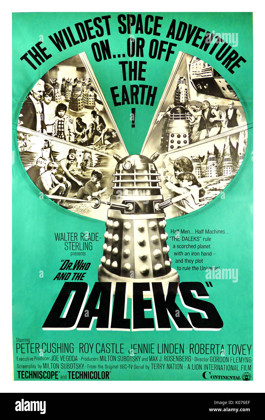 """DR. WHO AND THE DALEKS, 1965. Original Vintage Movie Poster starring Peter Cushing, Roy Castle and Jennie Linden. Directed by Gordon Fleming this movie brought BBC's low budget, sci-fi TV series to the big screen. """"The wildest space adventure on …or off the earth! Half men…half machine the Daleks rule a scorched planet with an iron hand and they plot to rule the universe"""". - Stock Image"""