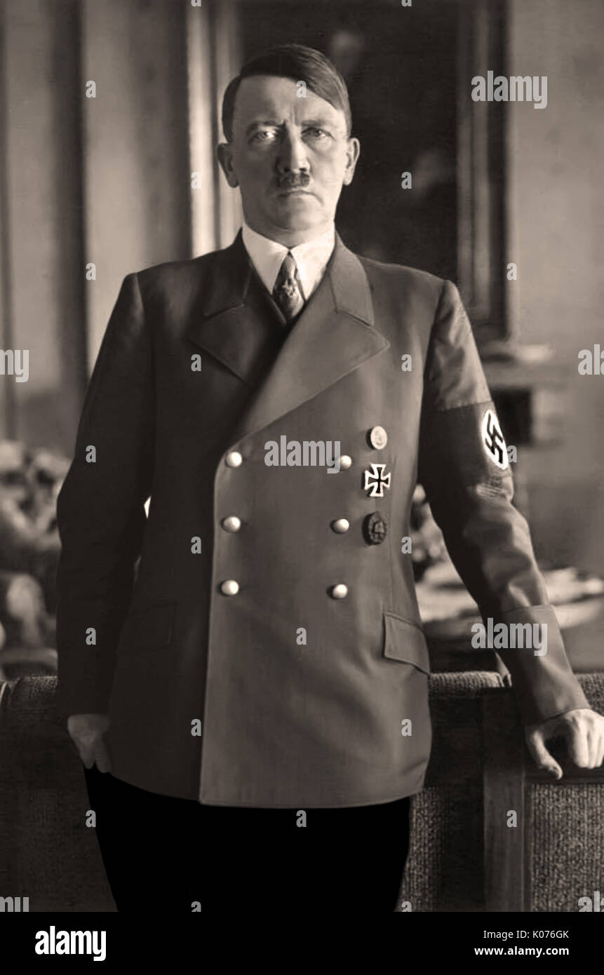 PORTRAIT ADOLF HITLER in military uniform with swastika armband  portrait of Fuhrer Adolf Hitler by Heinrich Hoffman (personal photographer) in the Berlin Reichstag Germany 1930s - Stock Image