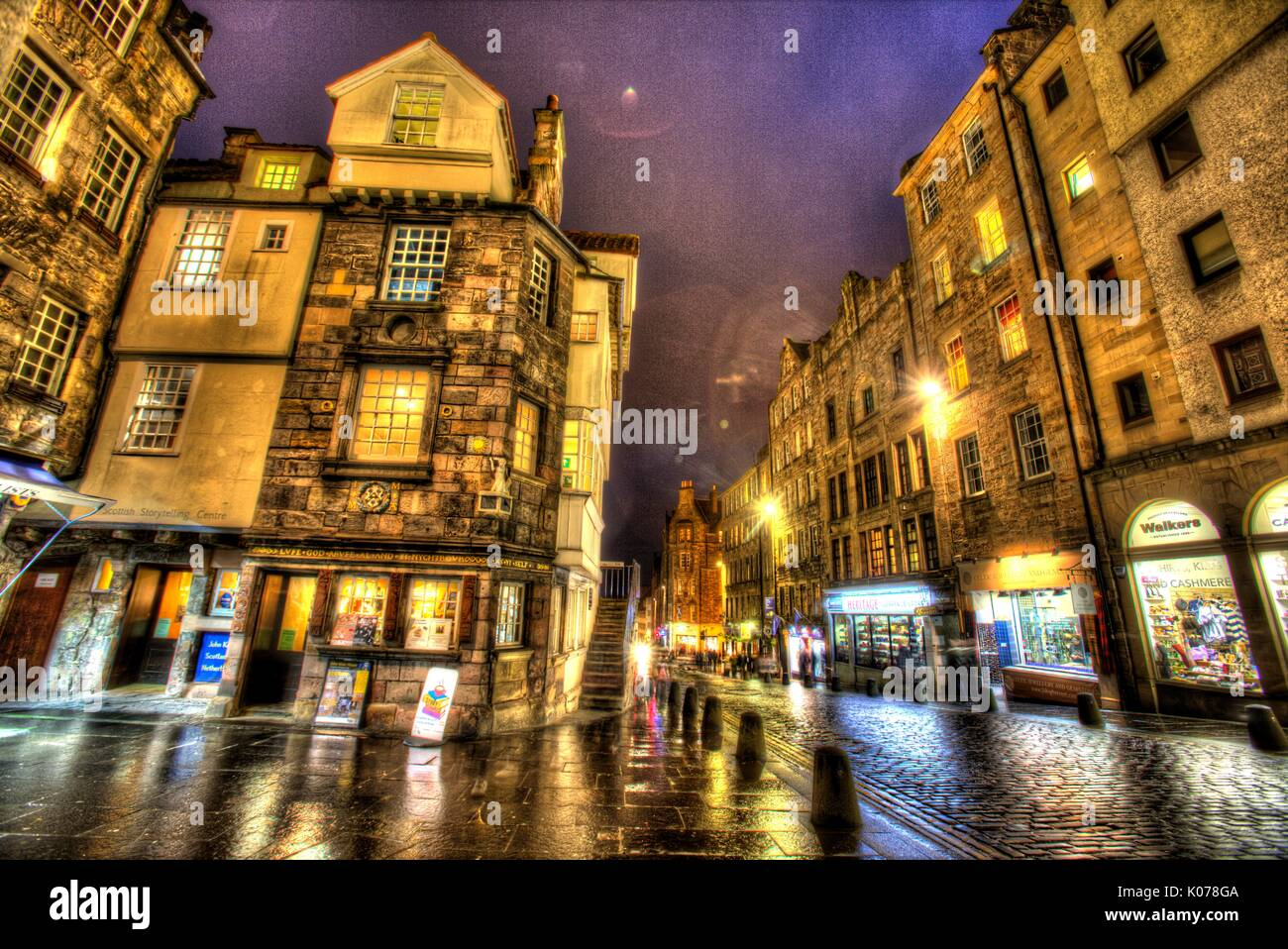 City of Edinburgh, Scotland. Picturesque night view of John Knox's House on the Royal Mile's High Street. Stock Photo